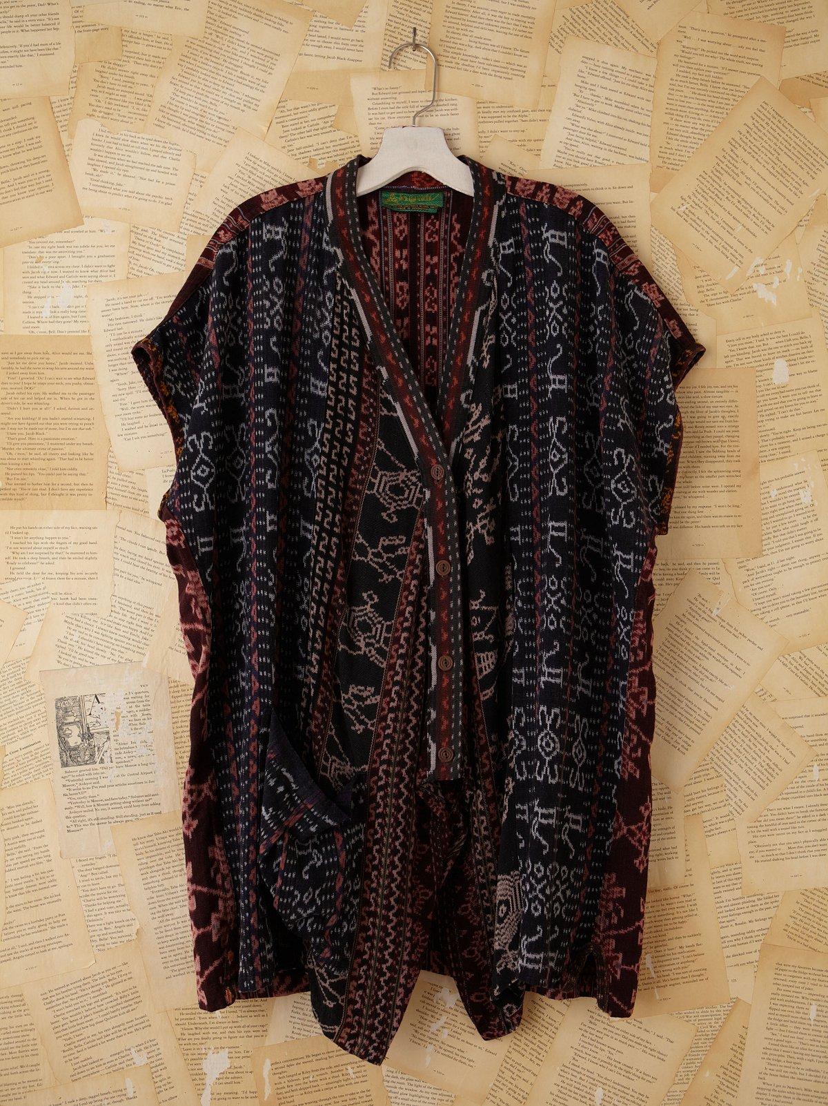 Vintage Batik Patterned Woven Kimono Jacket