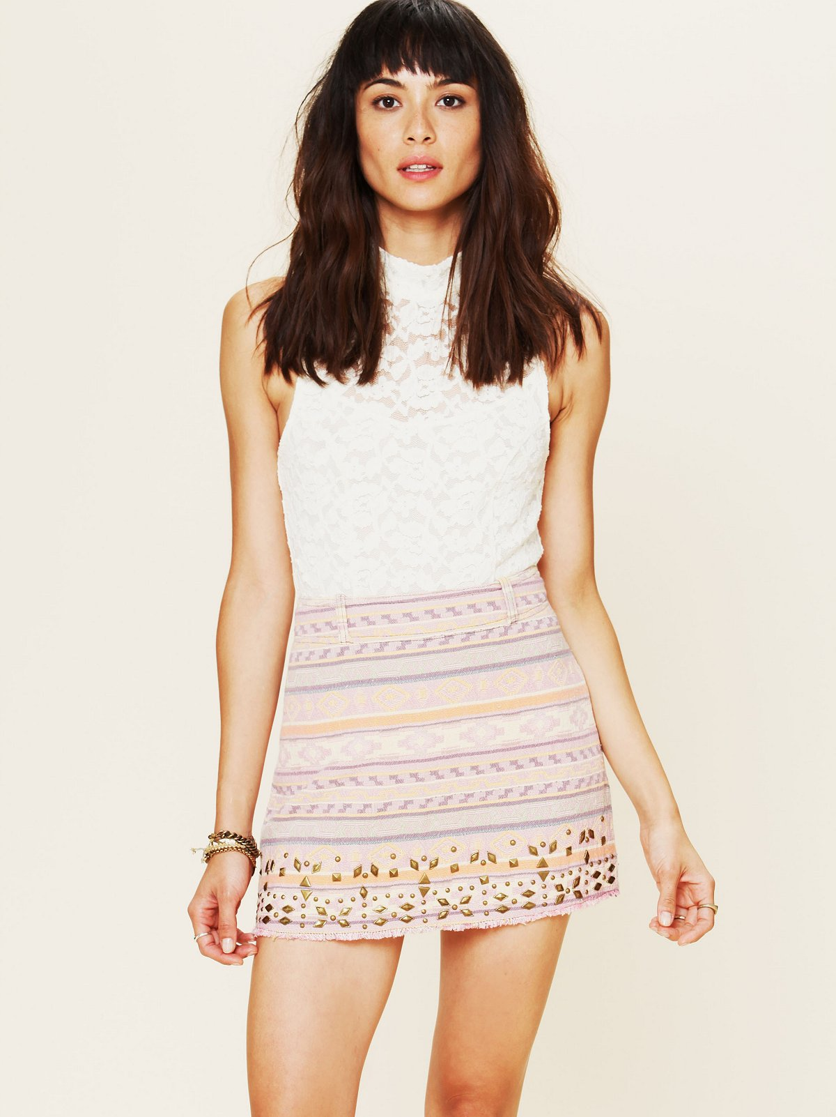 Jacquard Embellished Skirt