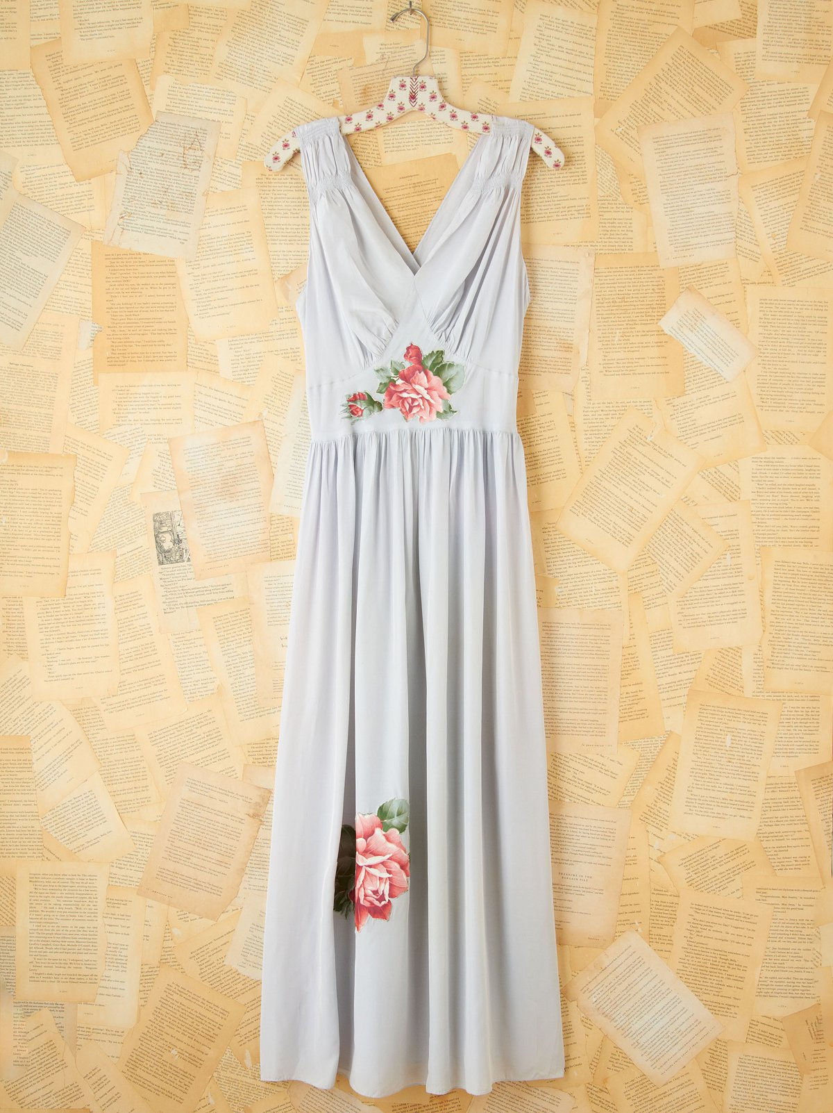 Vintage Floral Appliqu Maxi Slip Dress