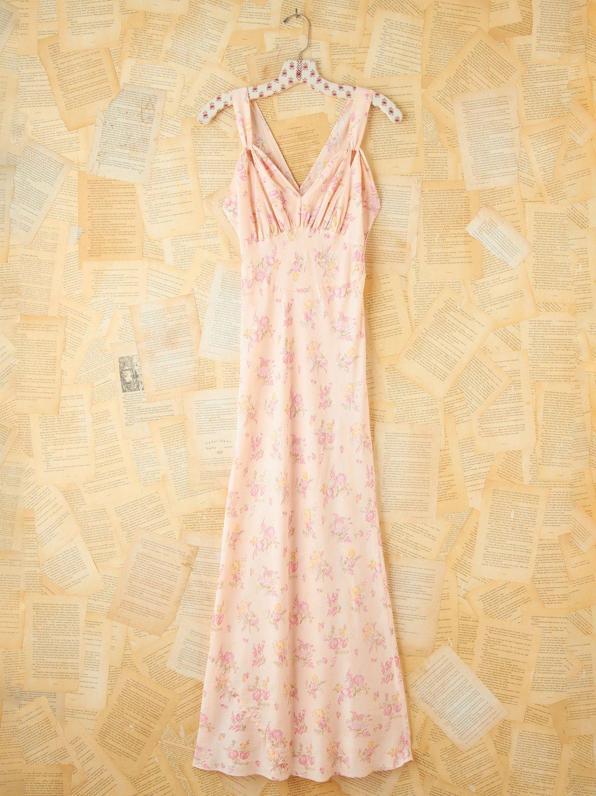 Vintage Floral Silk Maxi Dress