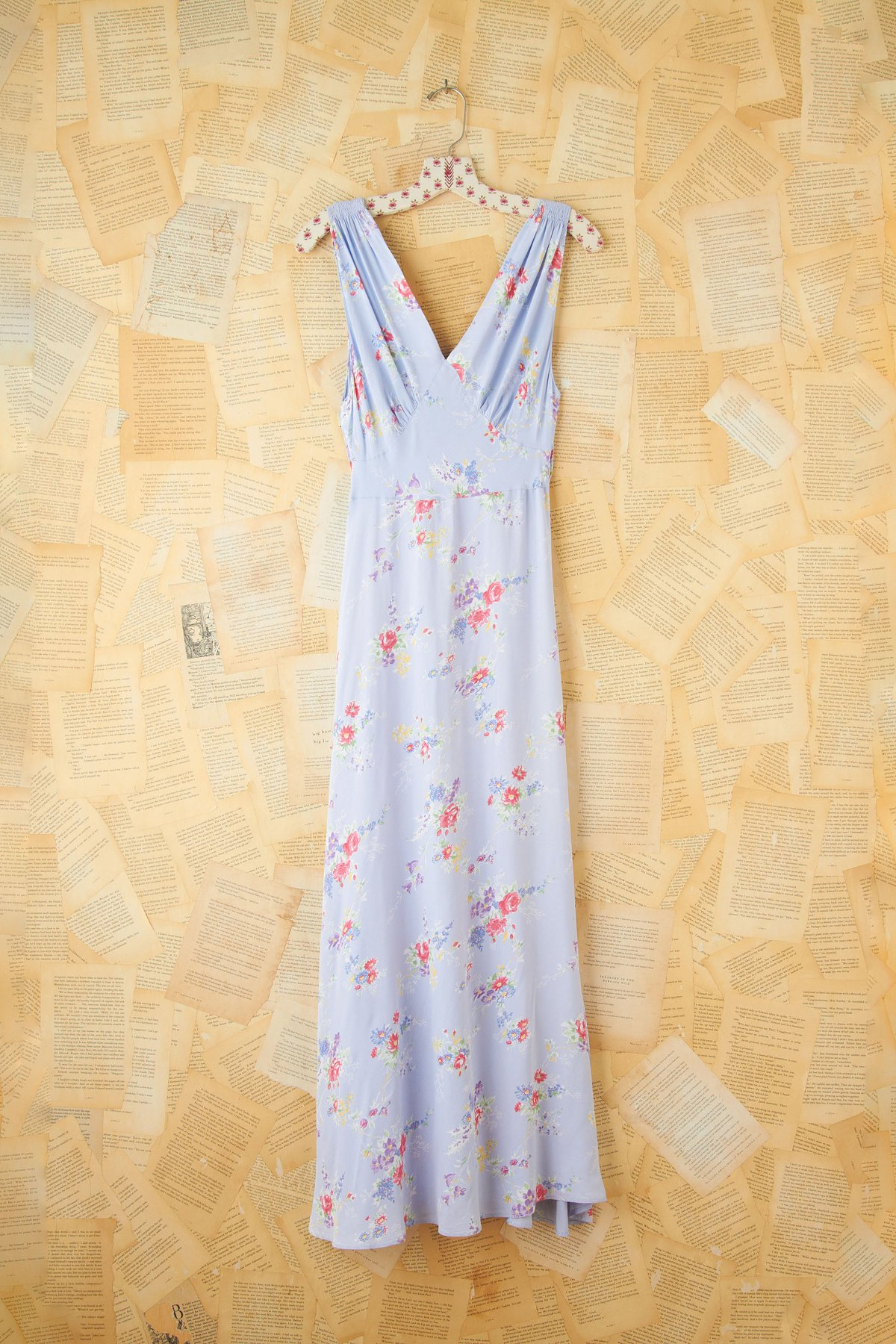 Vintage Floral Printed Silk Maxi Dress