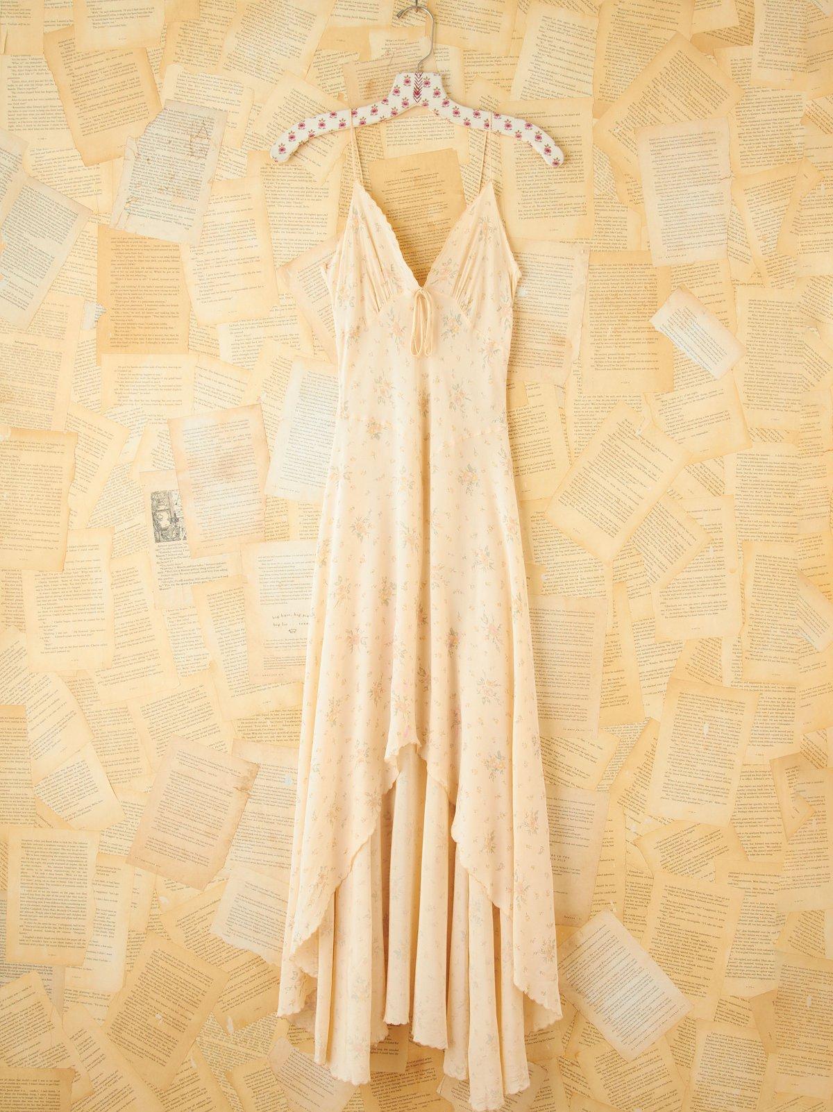 Vintage Floral Printed Hi Low Maxi Slip Dress