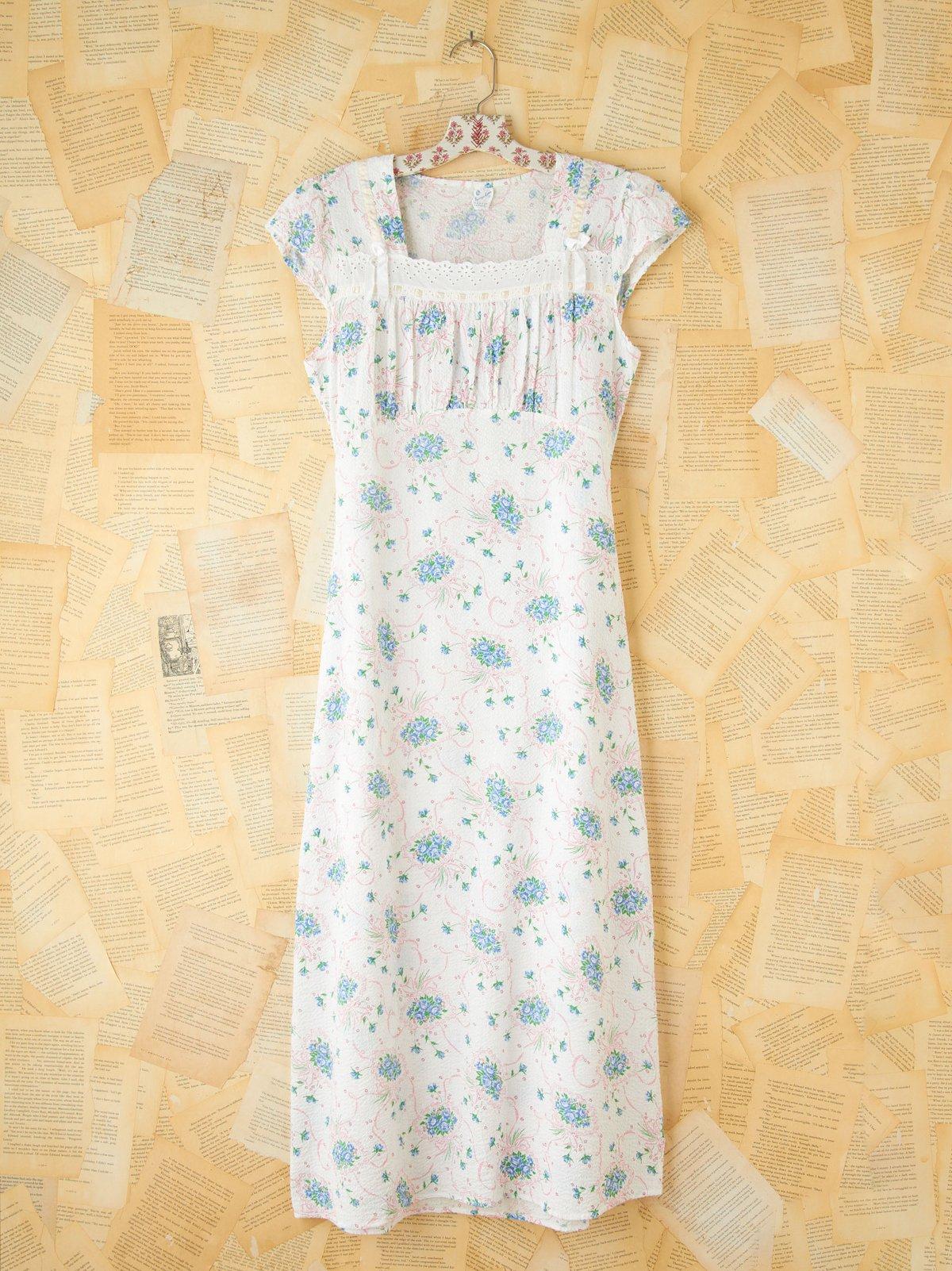 Vintage Floral Printed Seersucker Dress