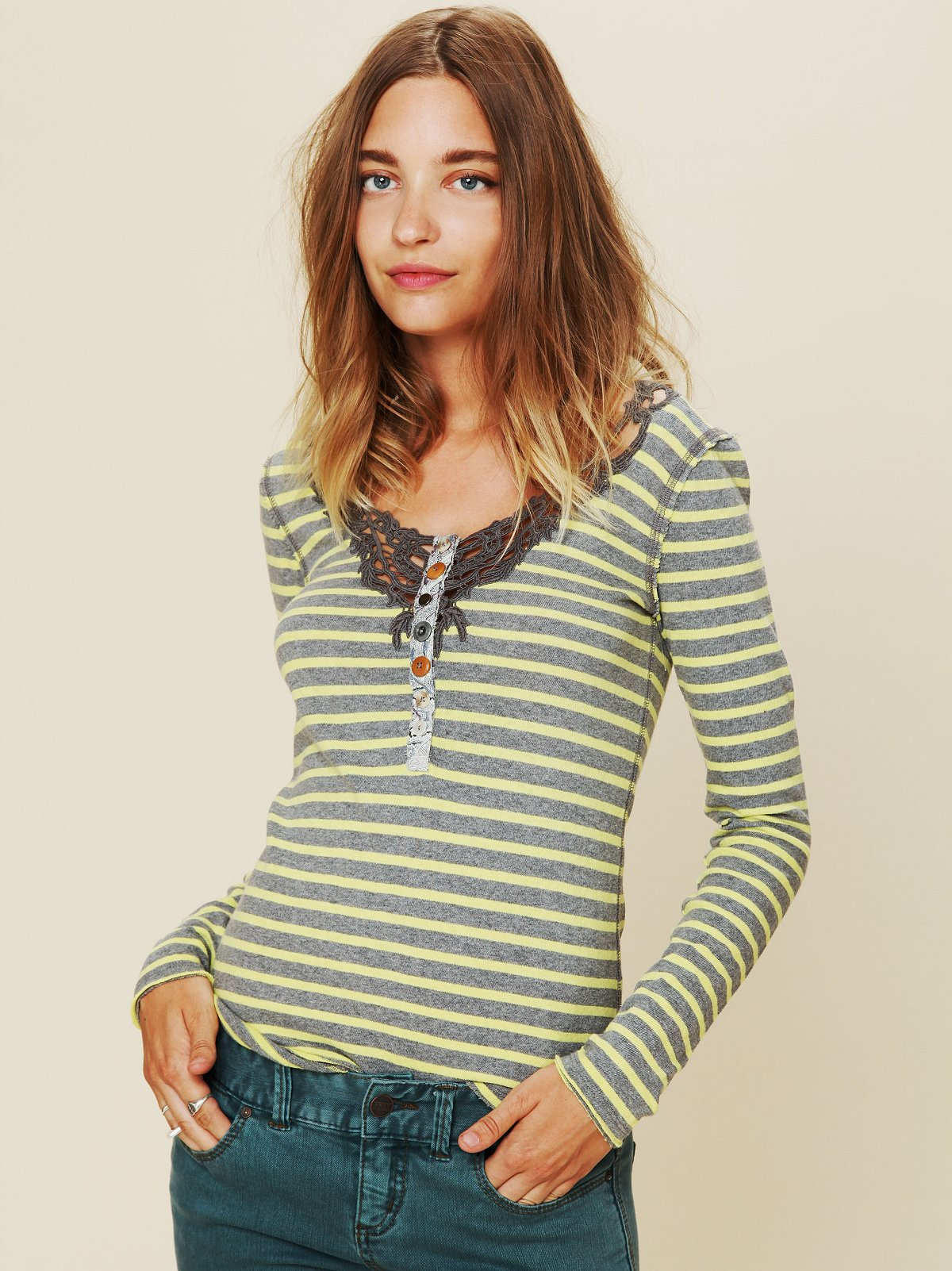 We The Free Call Back Stripe Henley