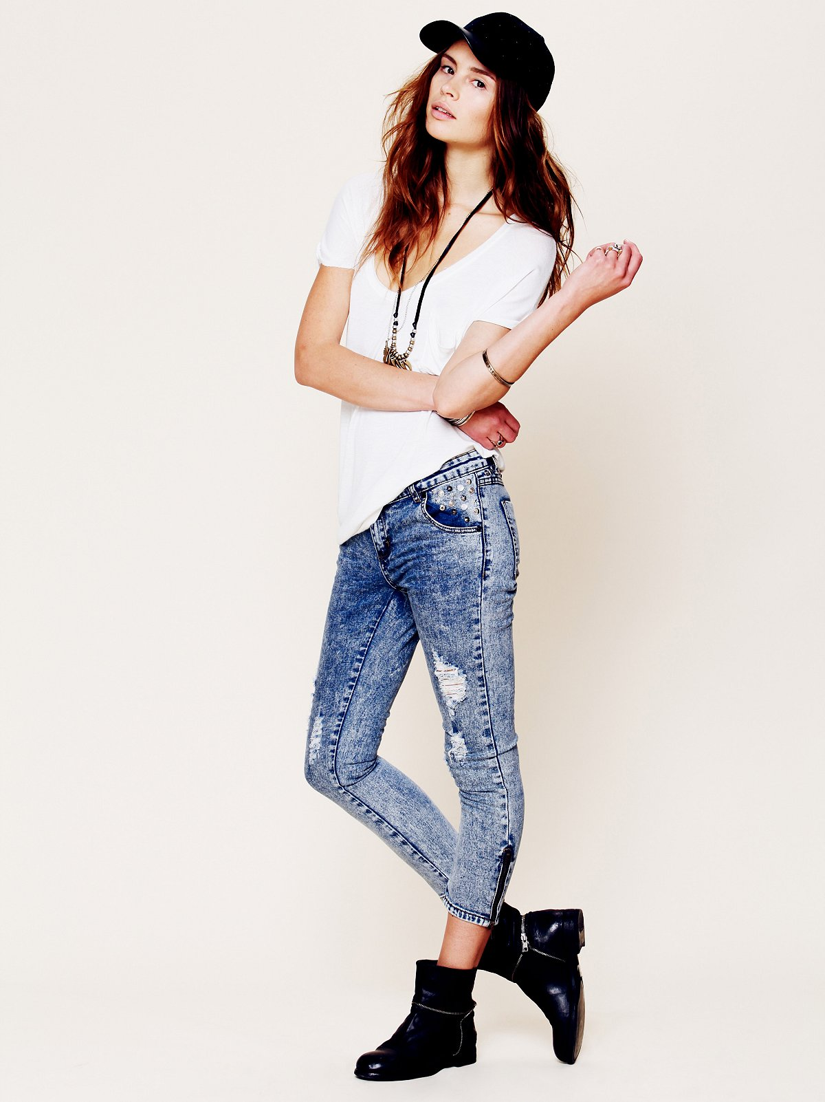 Studded and Destructed Skinnies