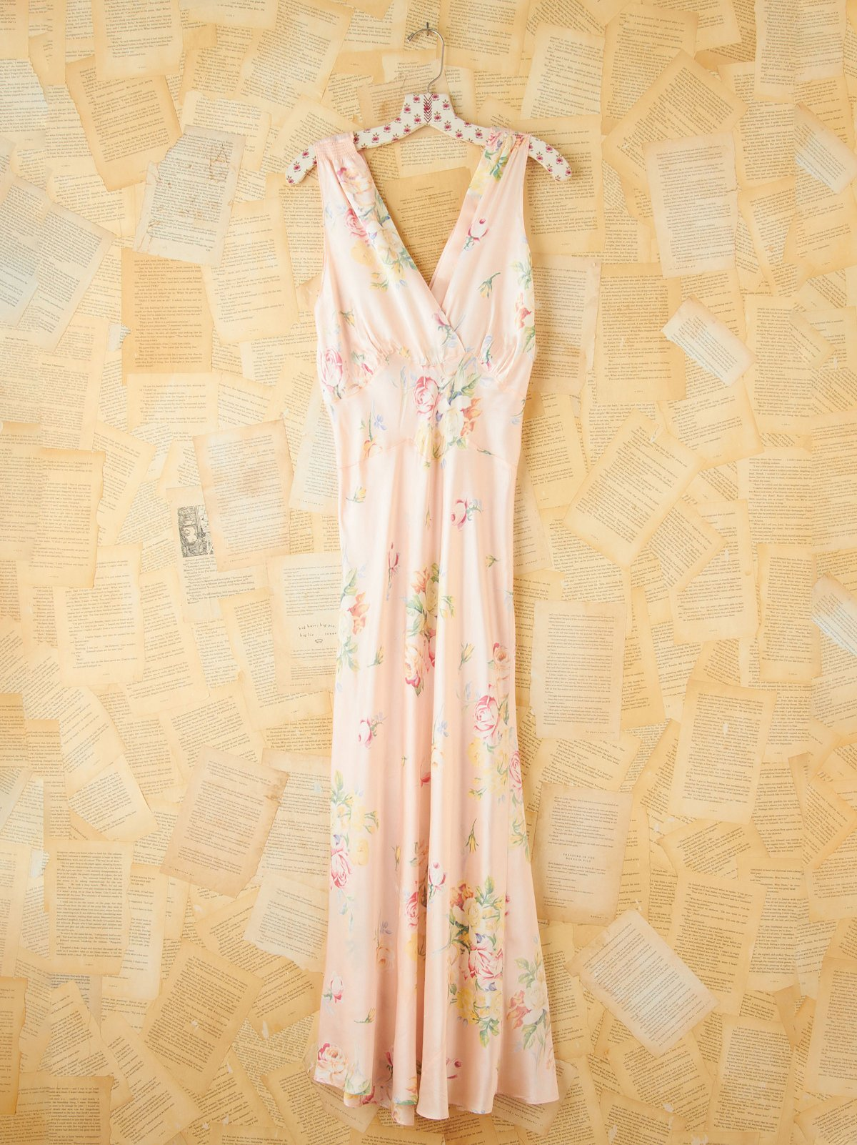 Vintage Floral Printed Maxi Slip Dress