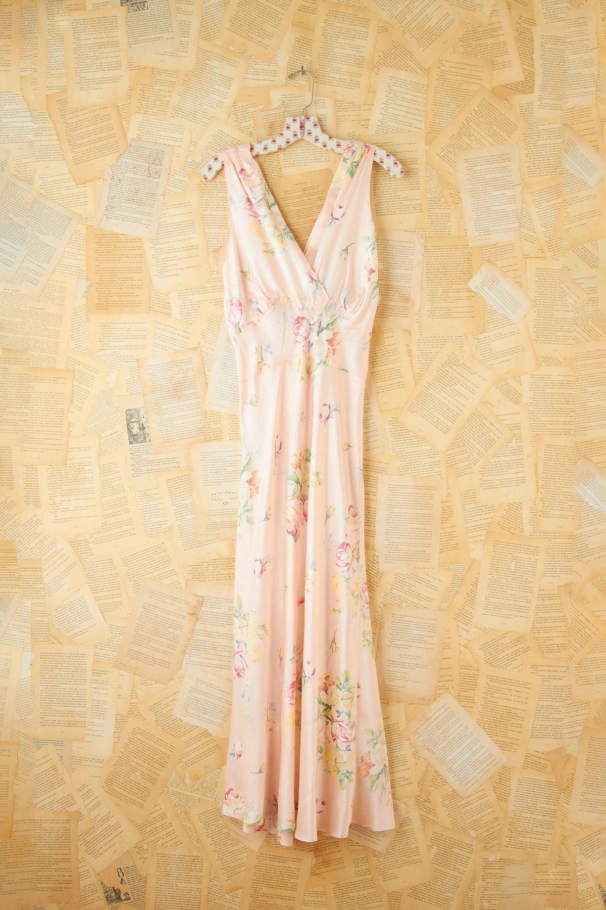 Vintage Floral Printed Maxi Slip Dress