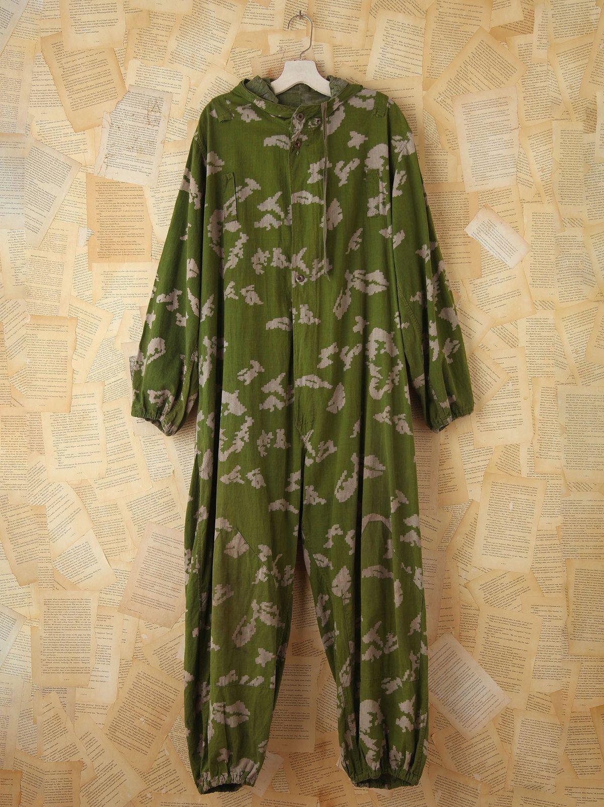 Vintage Patterned Army Jumpsuit