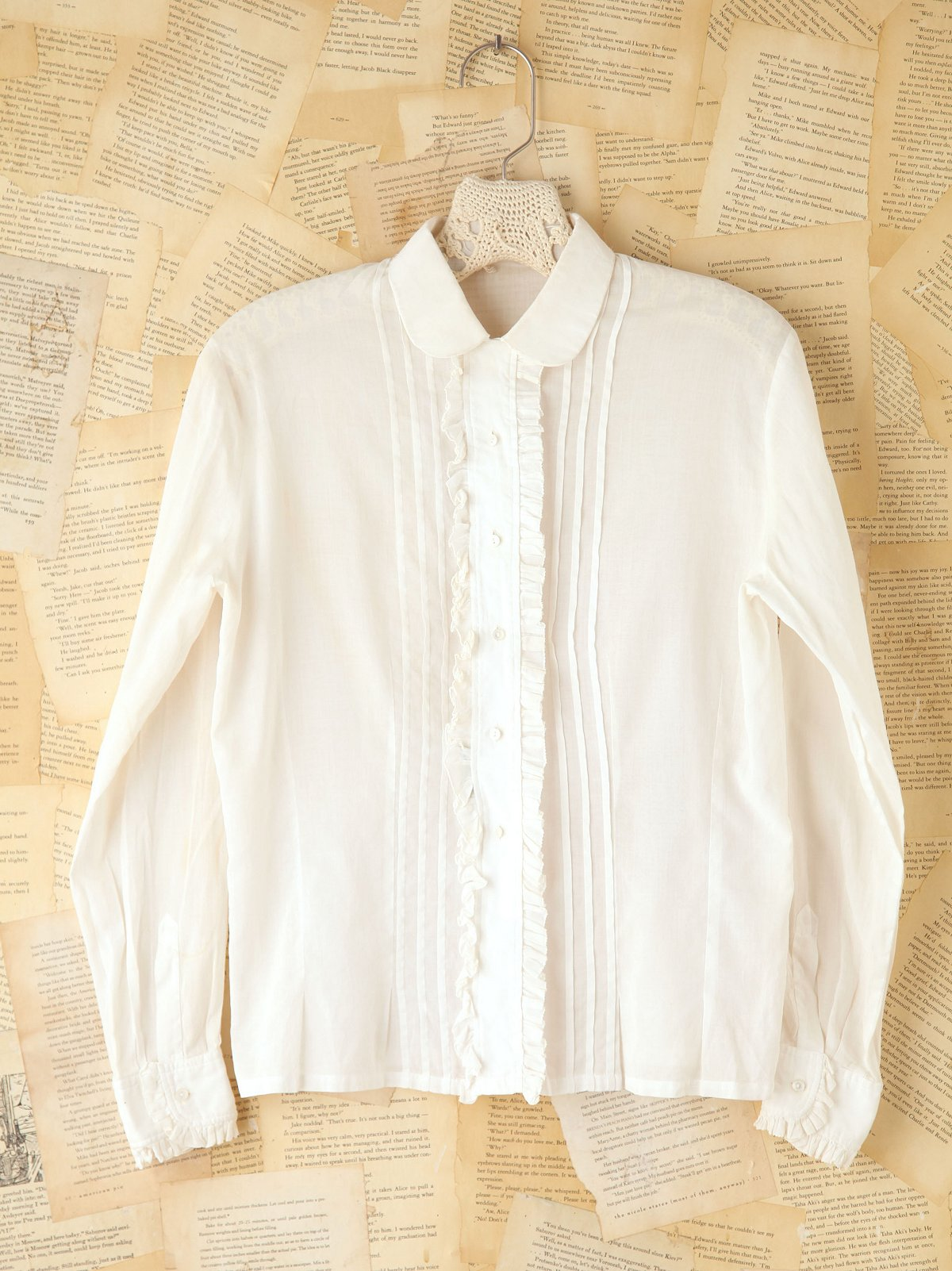 Vintage Ruffled Button Front Blouse