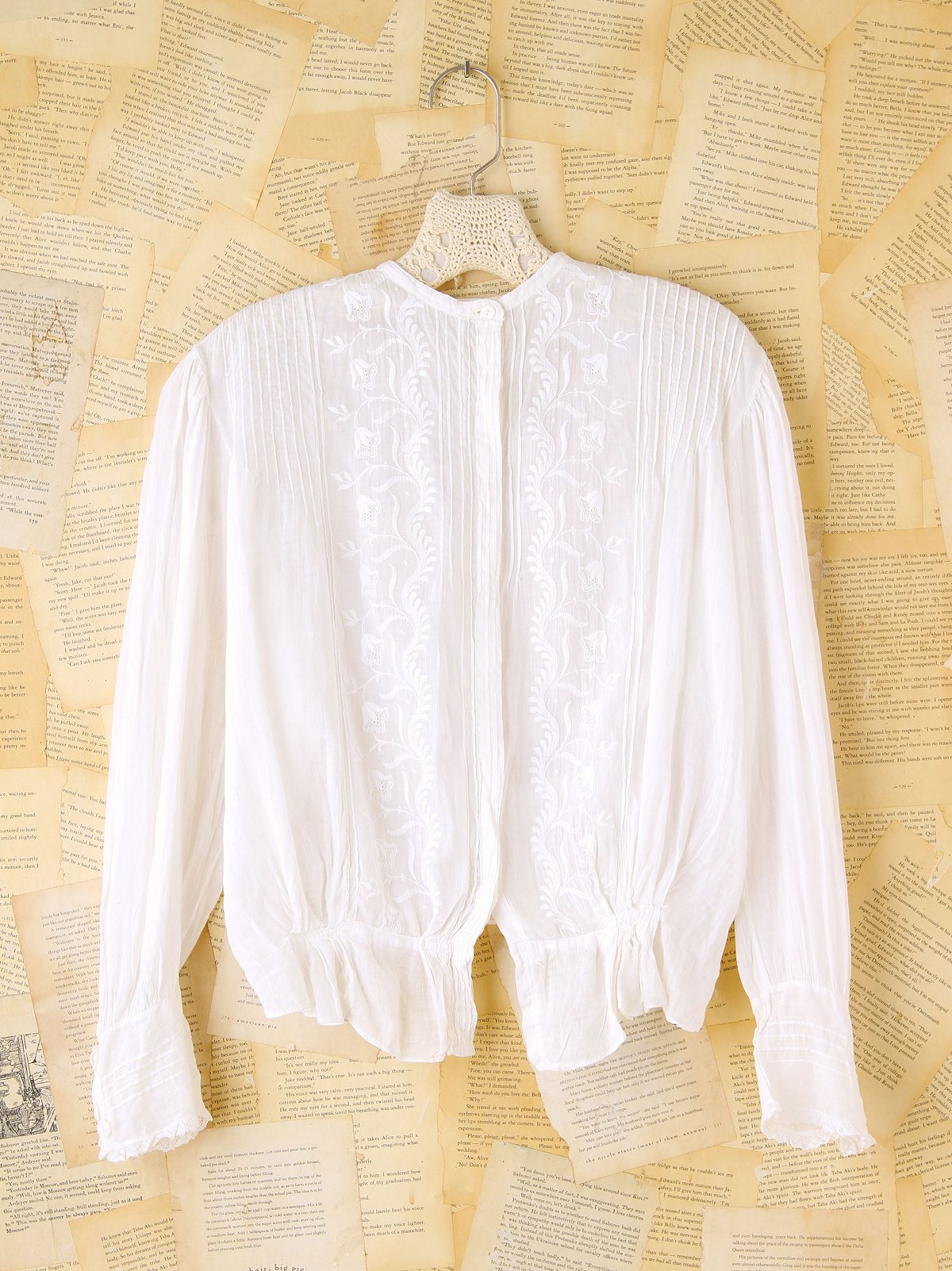 Vintage Long-Sleeve Embroidered Top