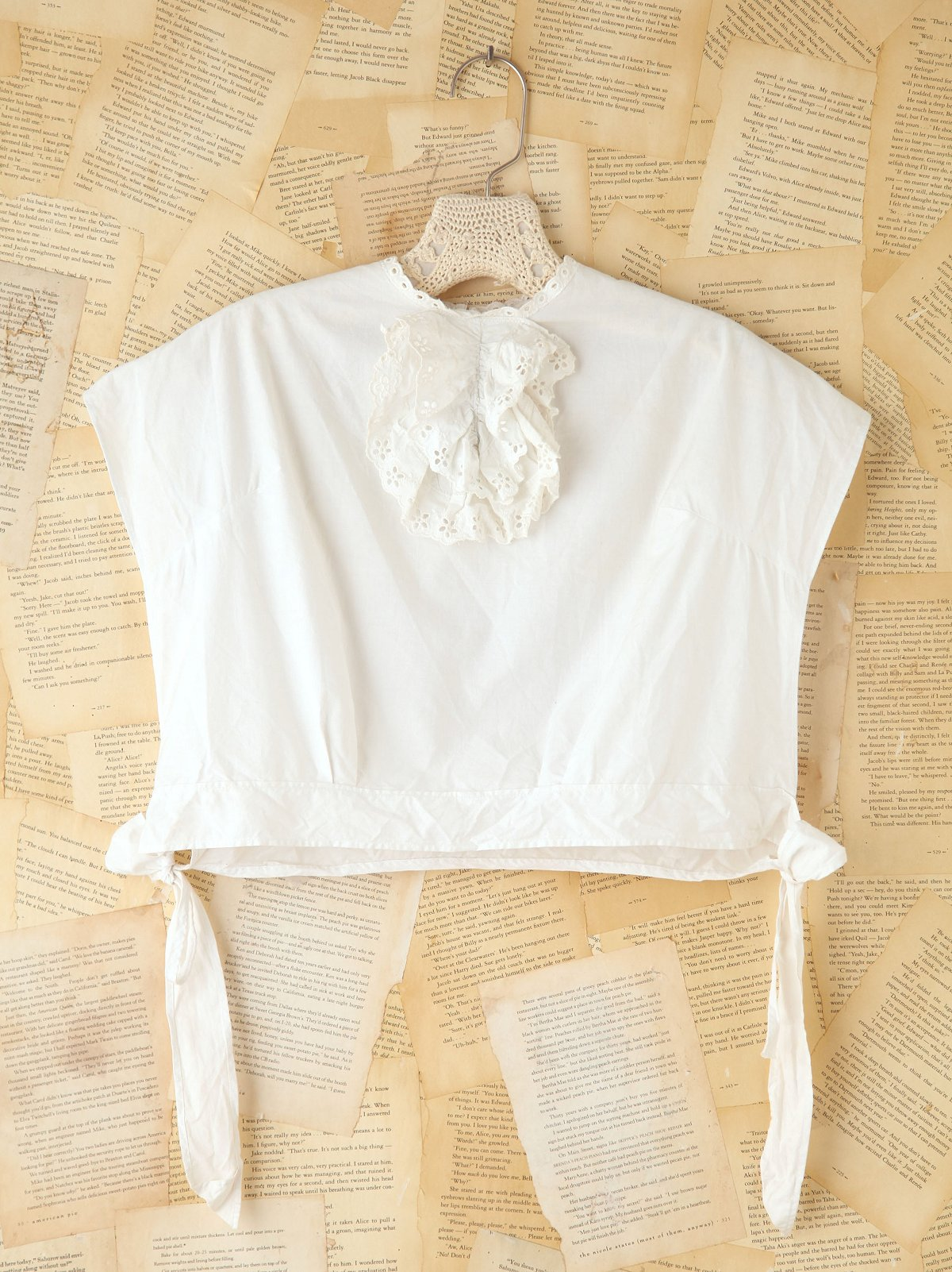 Vintage Ruffled Eyelet Crop Top
