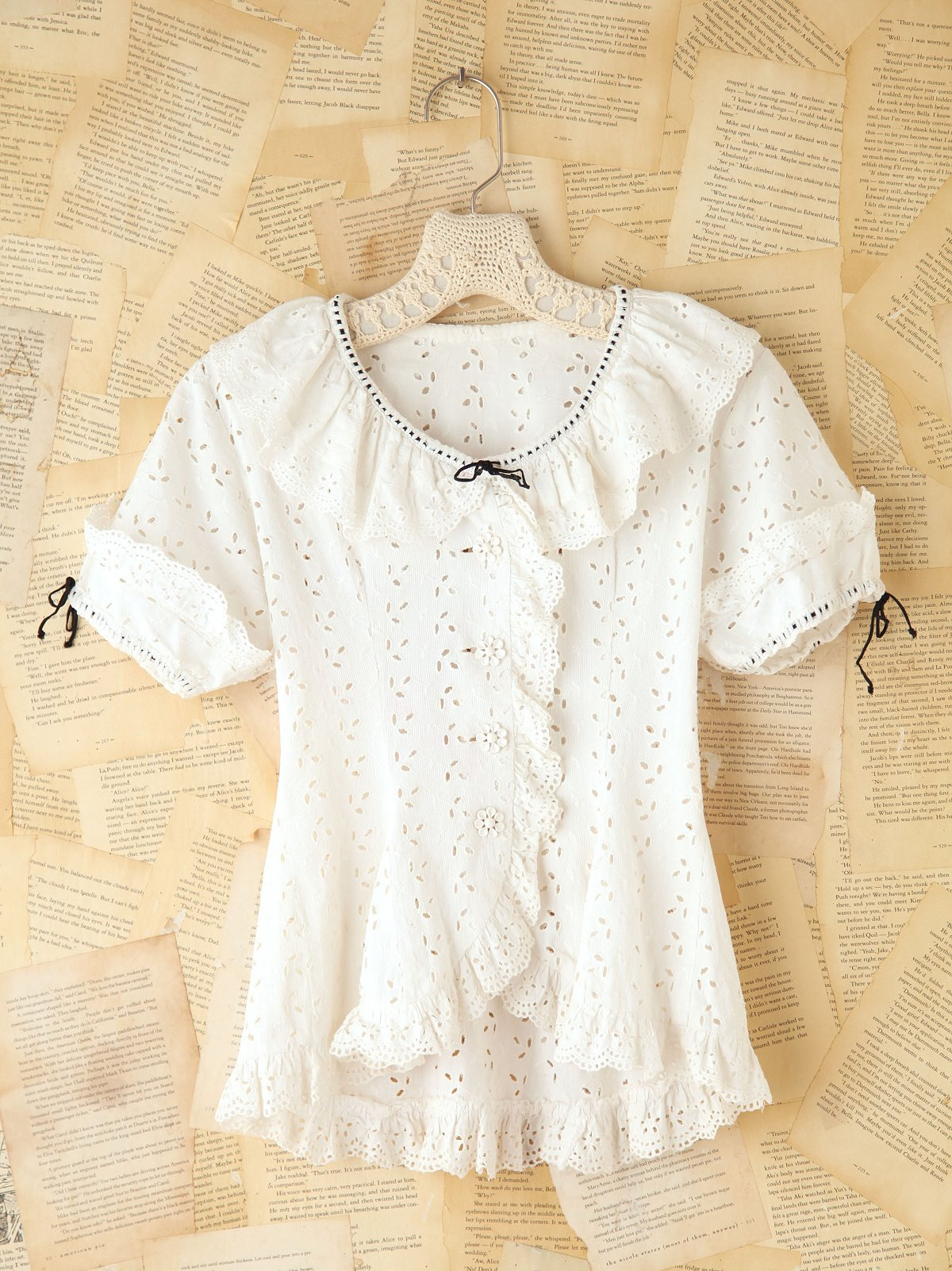 Vintage Eyelet Short Sleeve Blouse