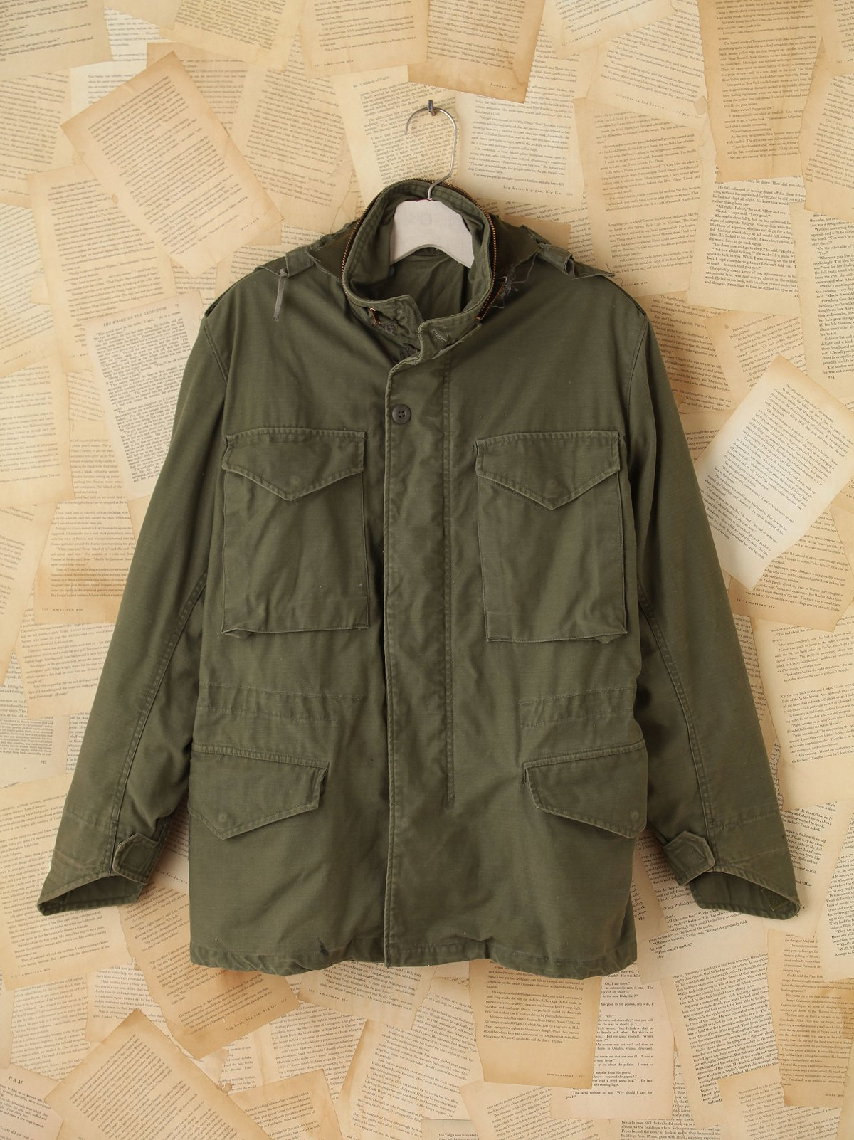 Vintage Hooded Miltary Cargo Jacket