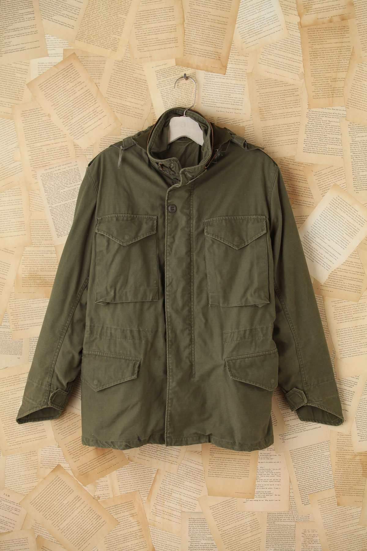 Vintage Hooded Miltary Cargo Jacket
