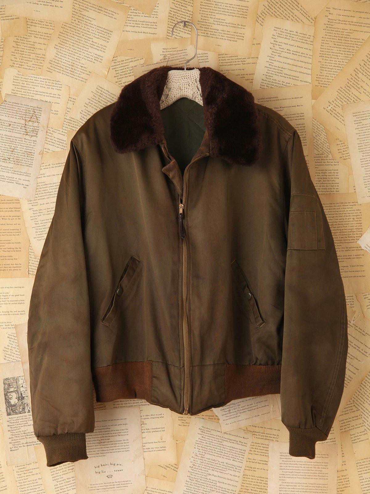 Vintage Fur Military Cargo Jacket