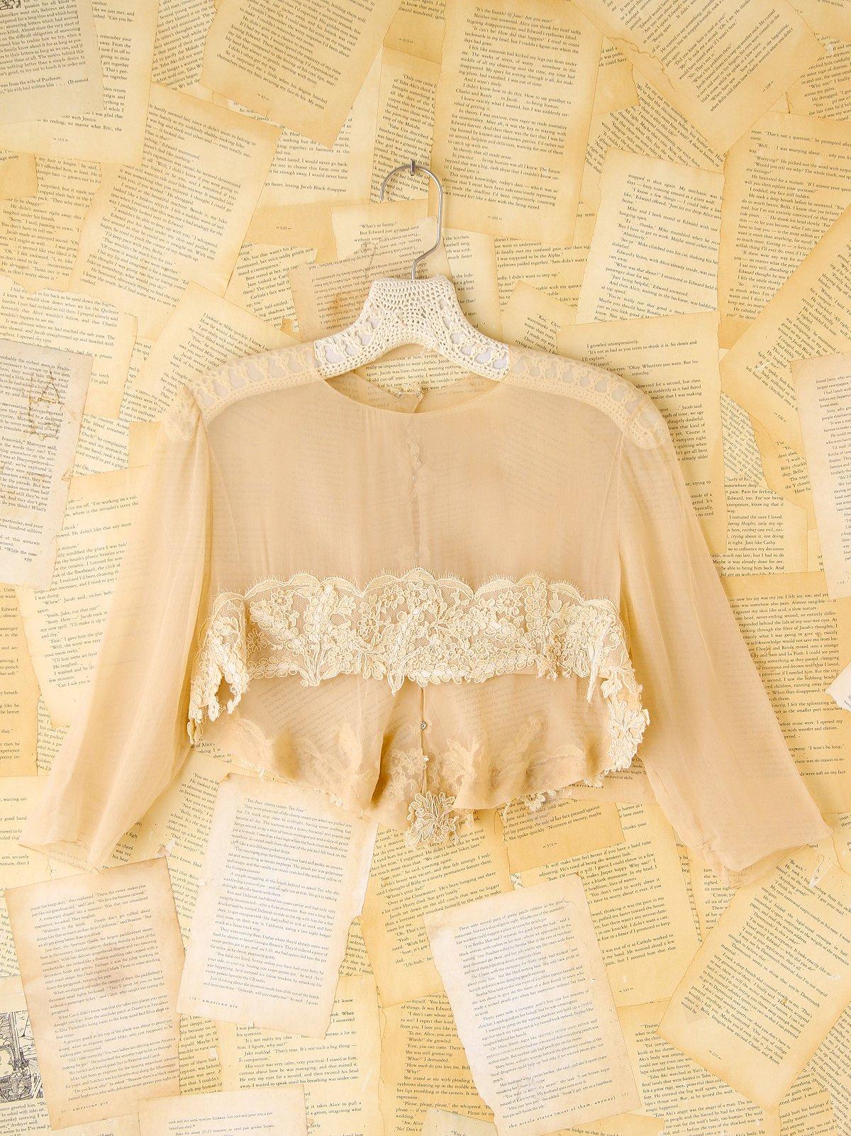 Vintage Lace Trimmed Silk Crop Top