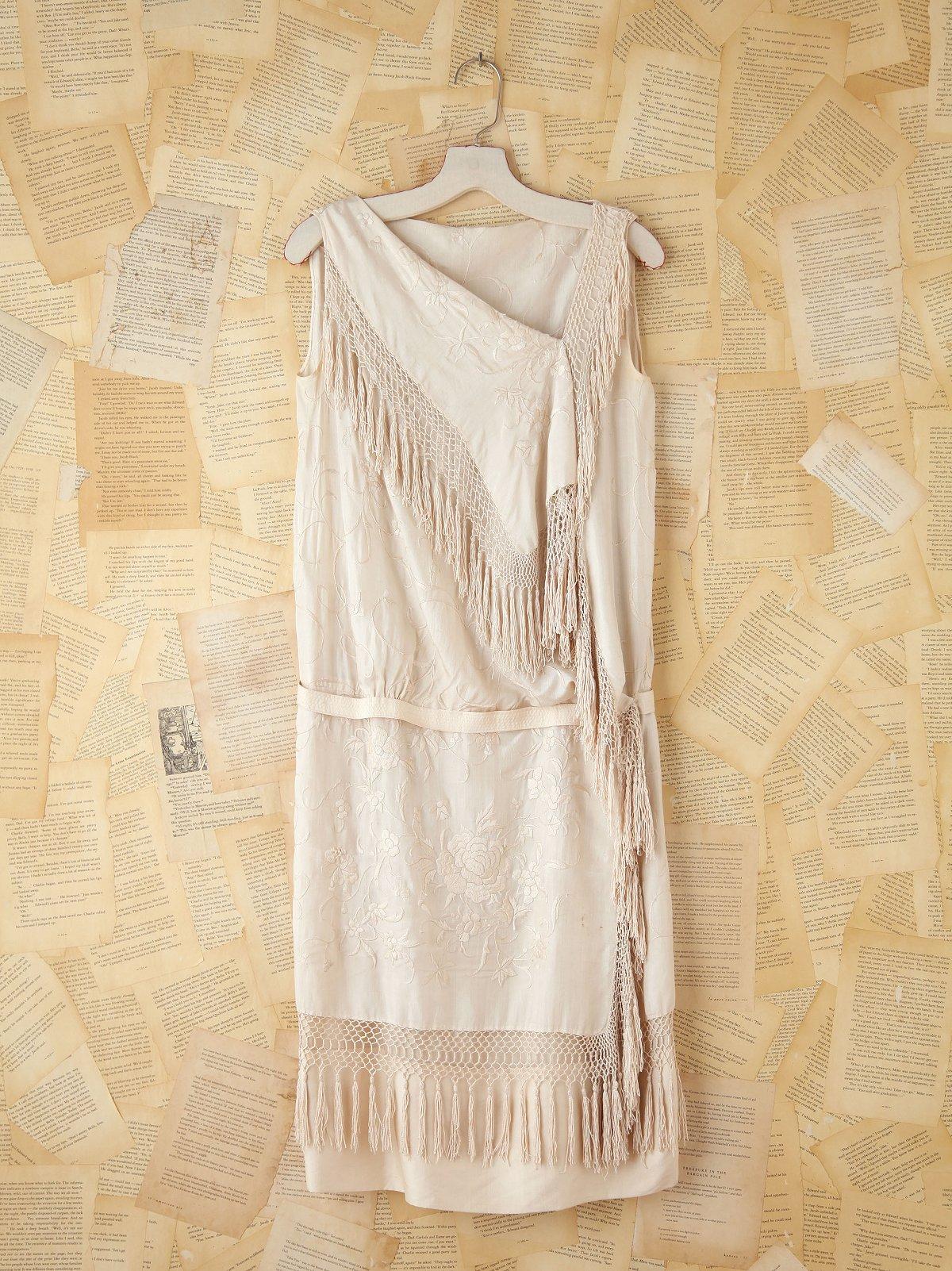 Vintage Embroidered Fringe Dress
