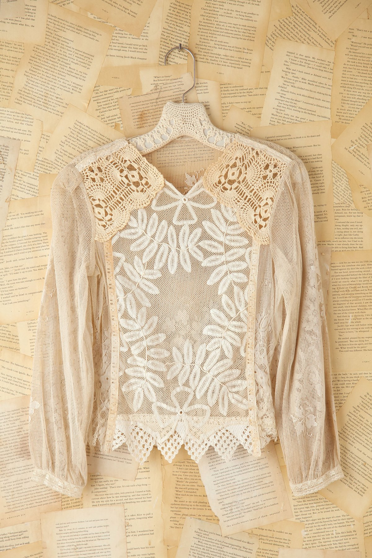 Vintage Netted Long Sleeve Top with Crochet