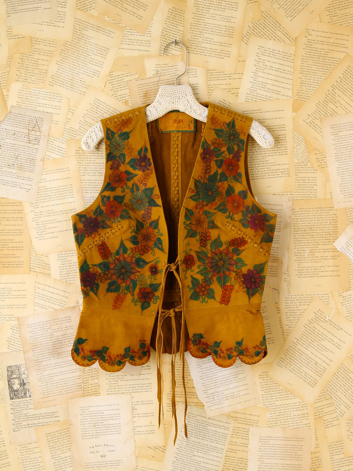 Vintage Leather Floral Painted Vest