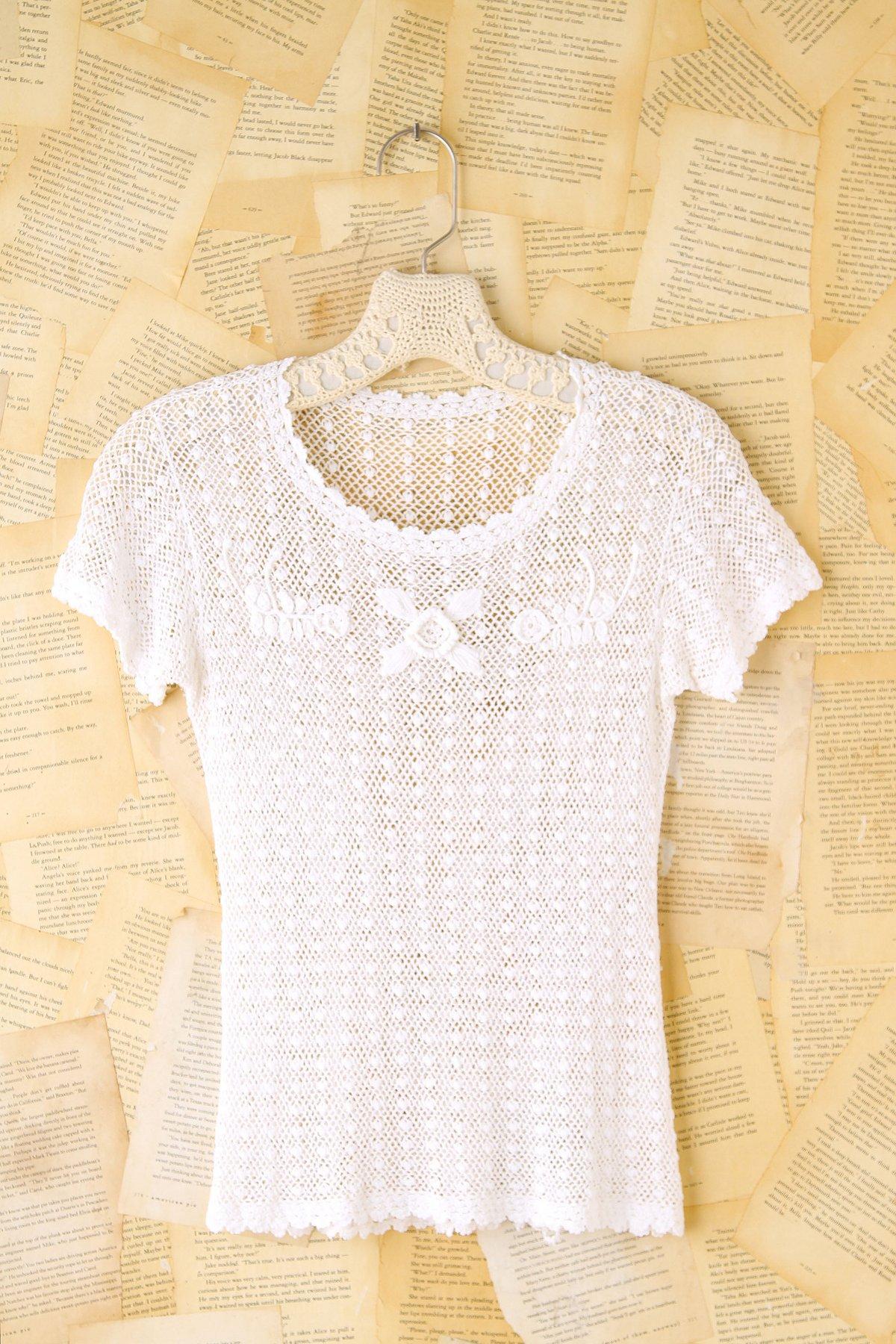 Vintage Crochet Short Sleeve Top