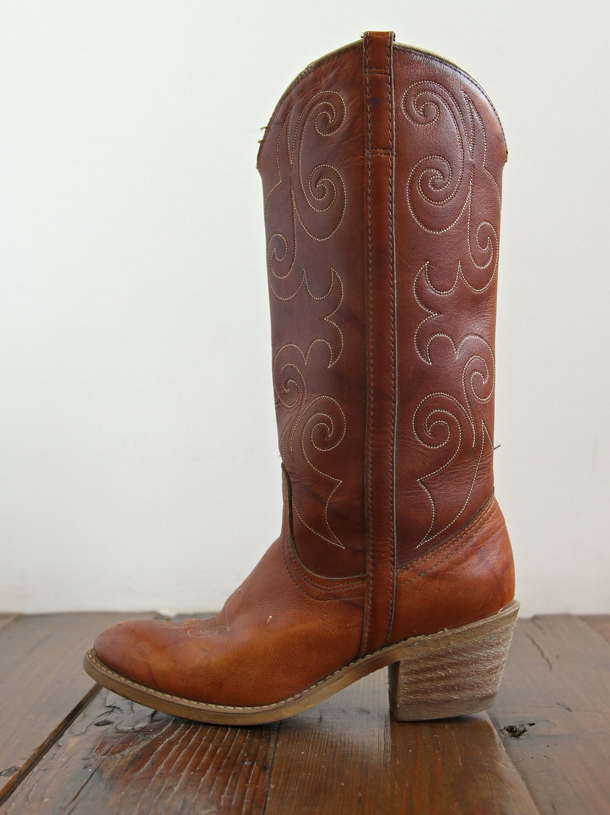 Vintage Brown Leather Western Boots