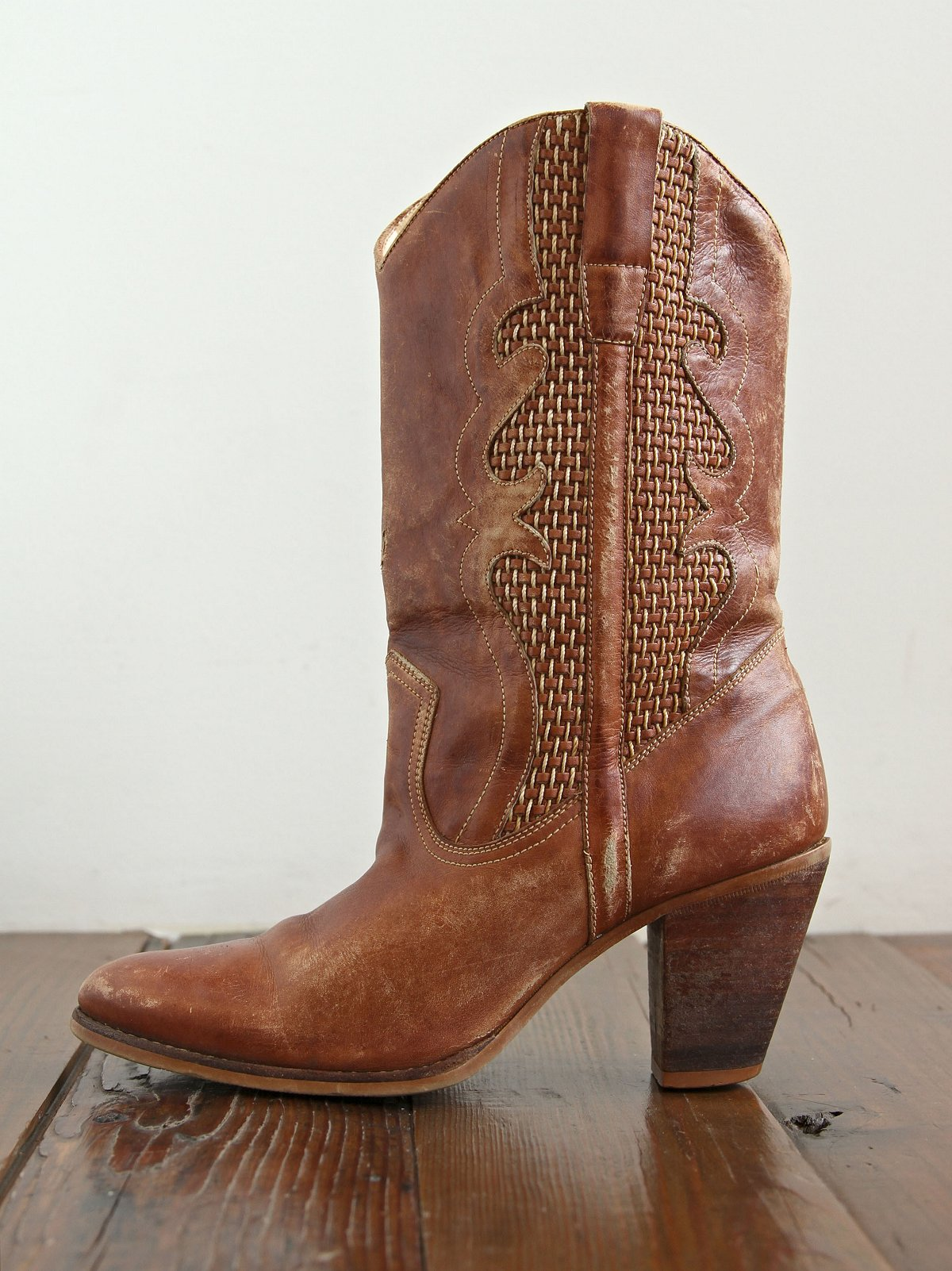 Vintage Brown Woven Leather Boots
