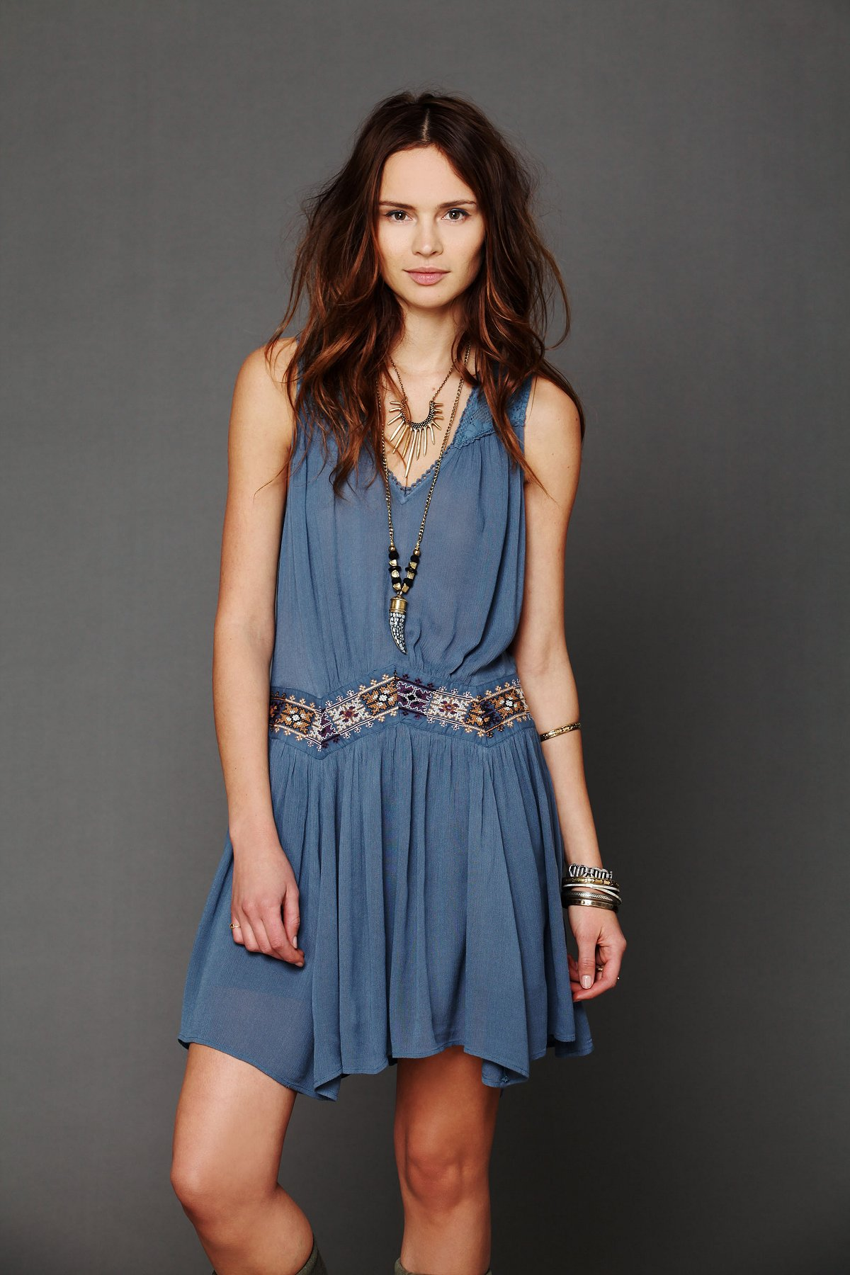 Ethnic Embroidered Waist Dress