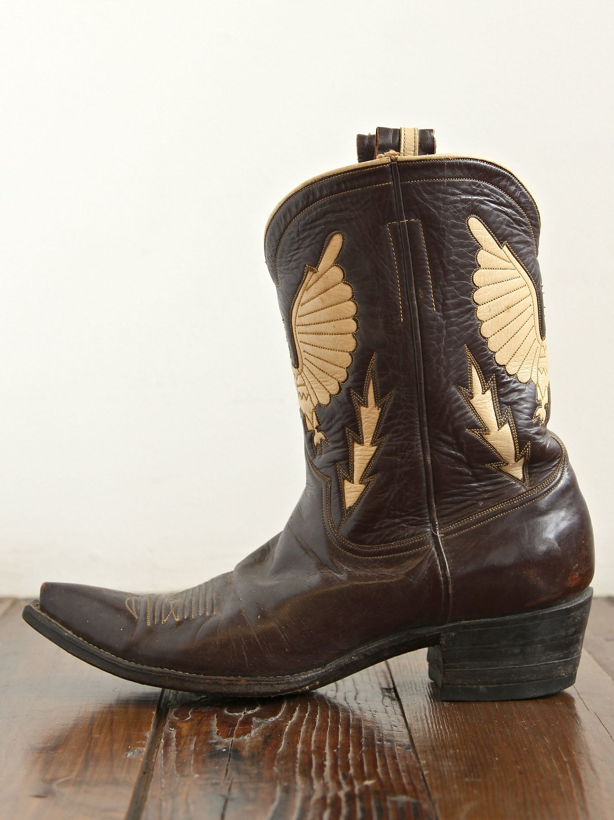Vintage Black and Beige Leather Boots