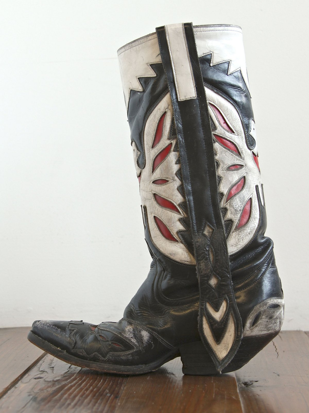 Vintage Black, White, and Red Leather Boots
