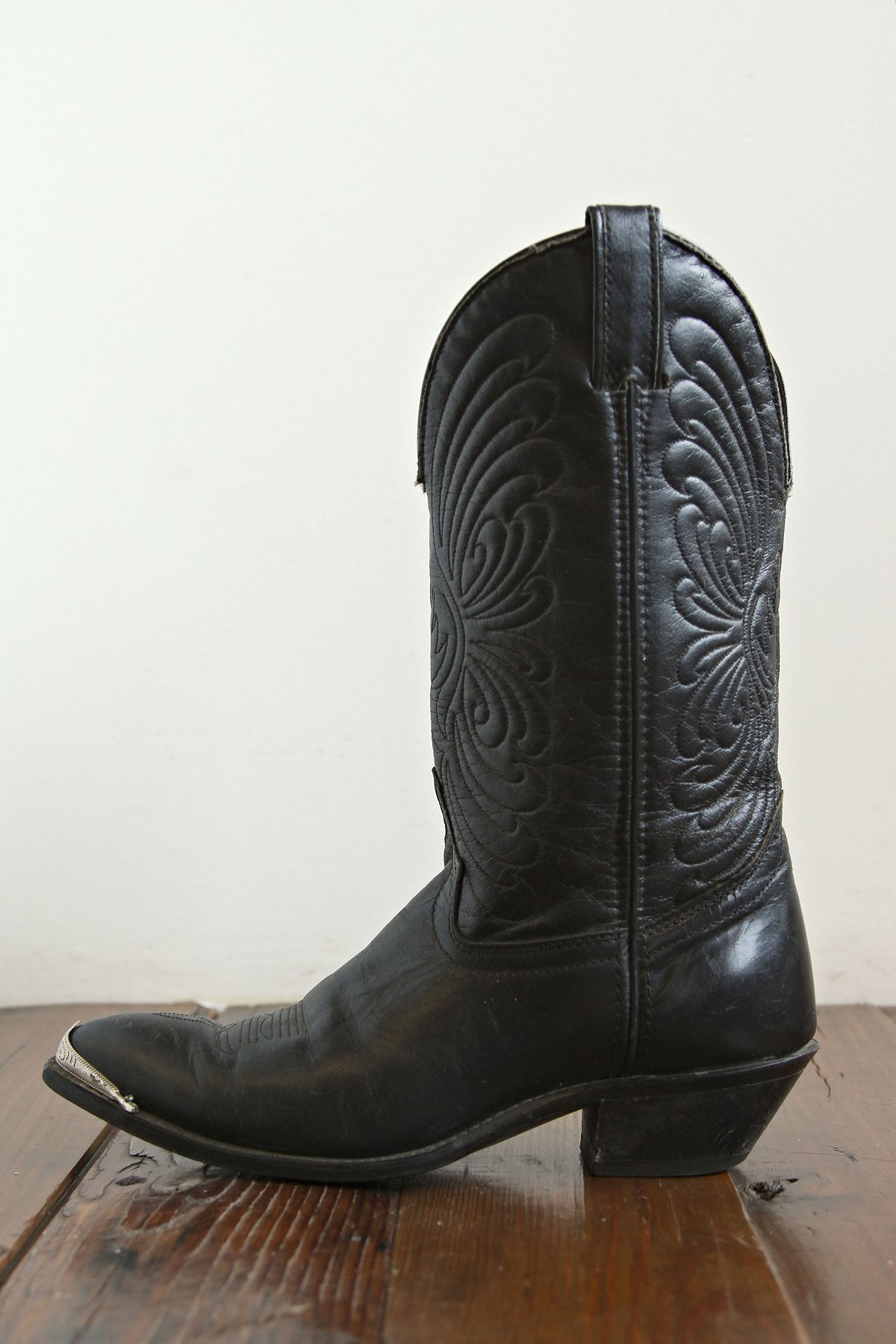 Vintage Black Leather Silver Toed Boot