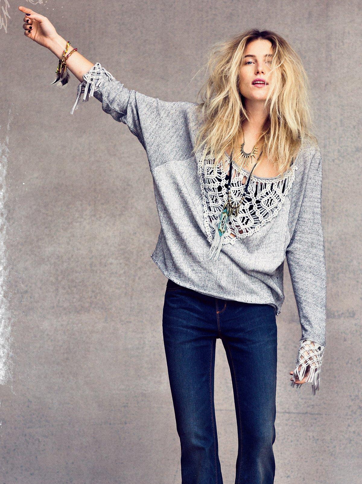Crochet and Fringe Pullover