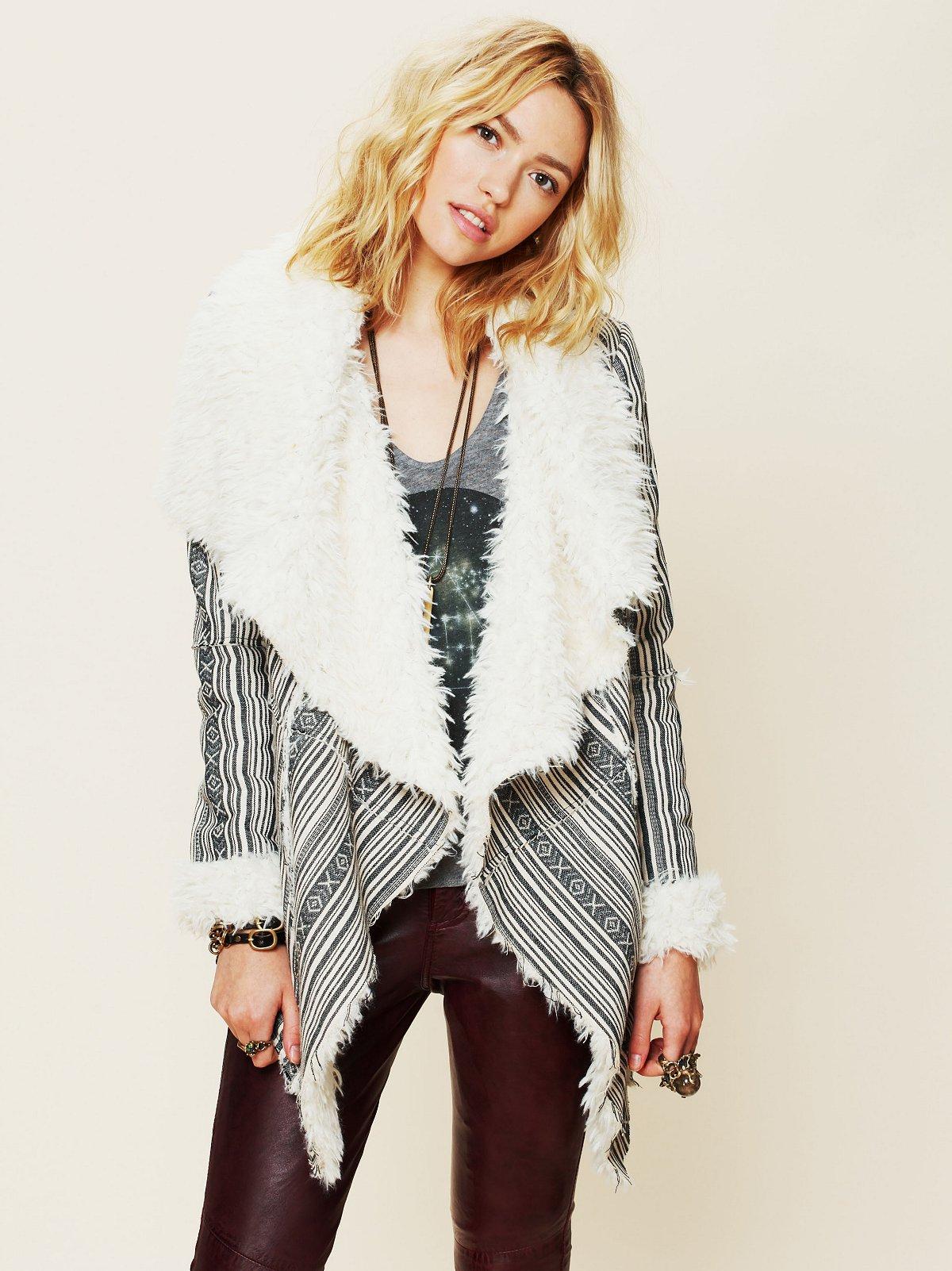Heading South Striped Faux Fur Jacket