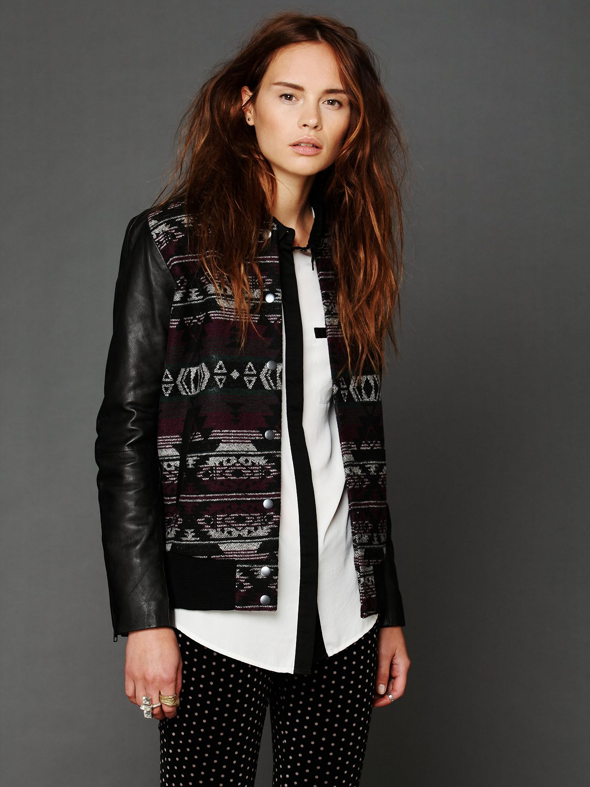 Marrakesh Leather Sleeve Jacket