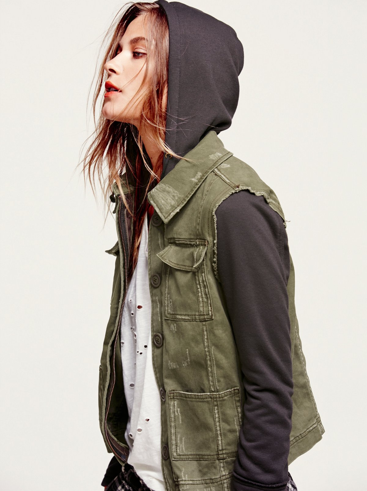 Knit Hooded Twill Jacket