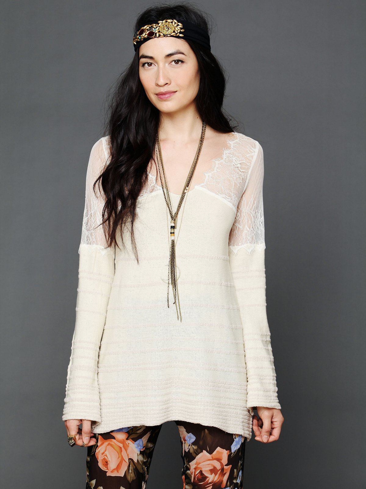 Lace Neck Stripe Tunic