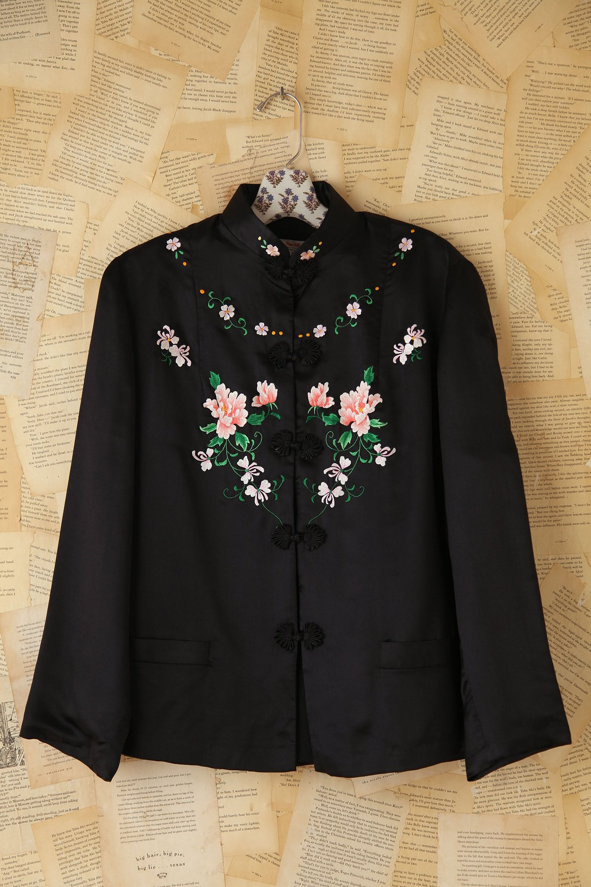 Vintage Silk Button Front Embroidered Jacket