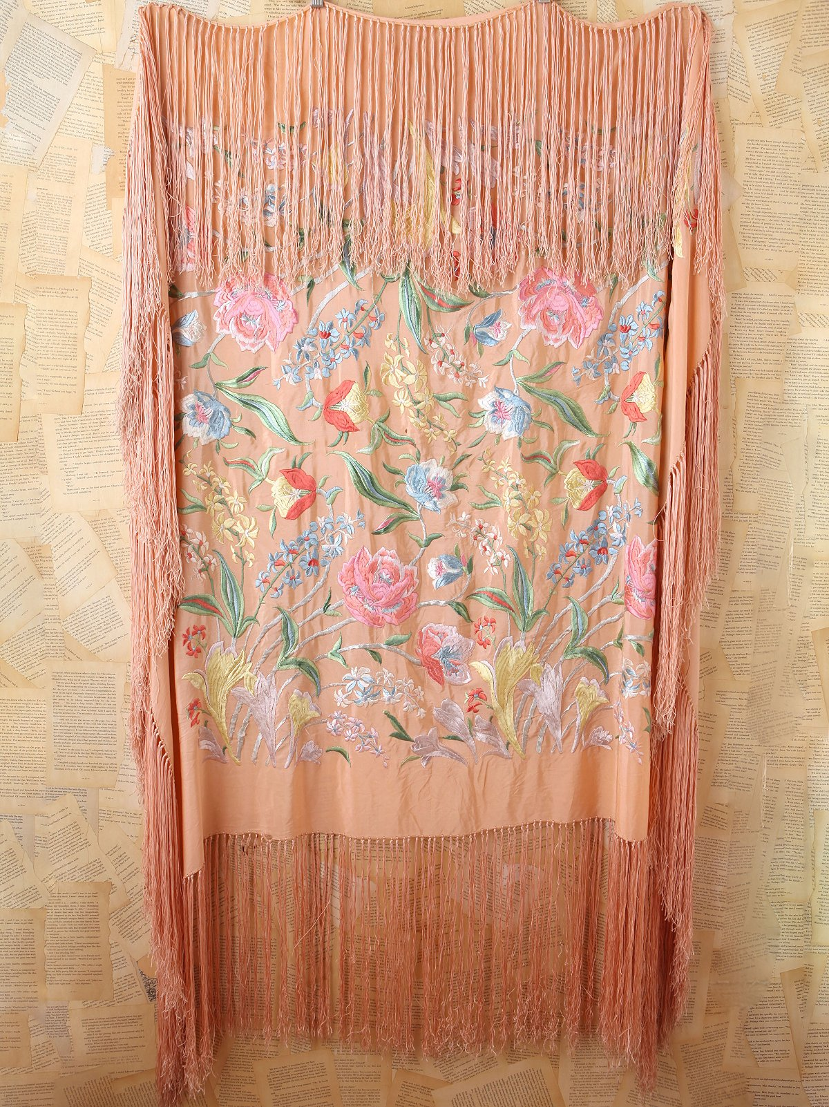Vintage Silk Floral Embroidered Piano Shawl