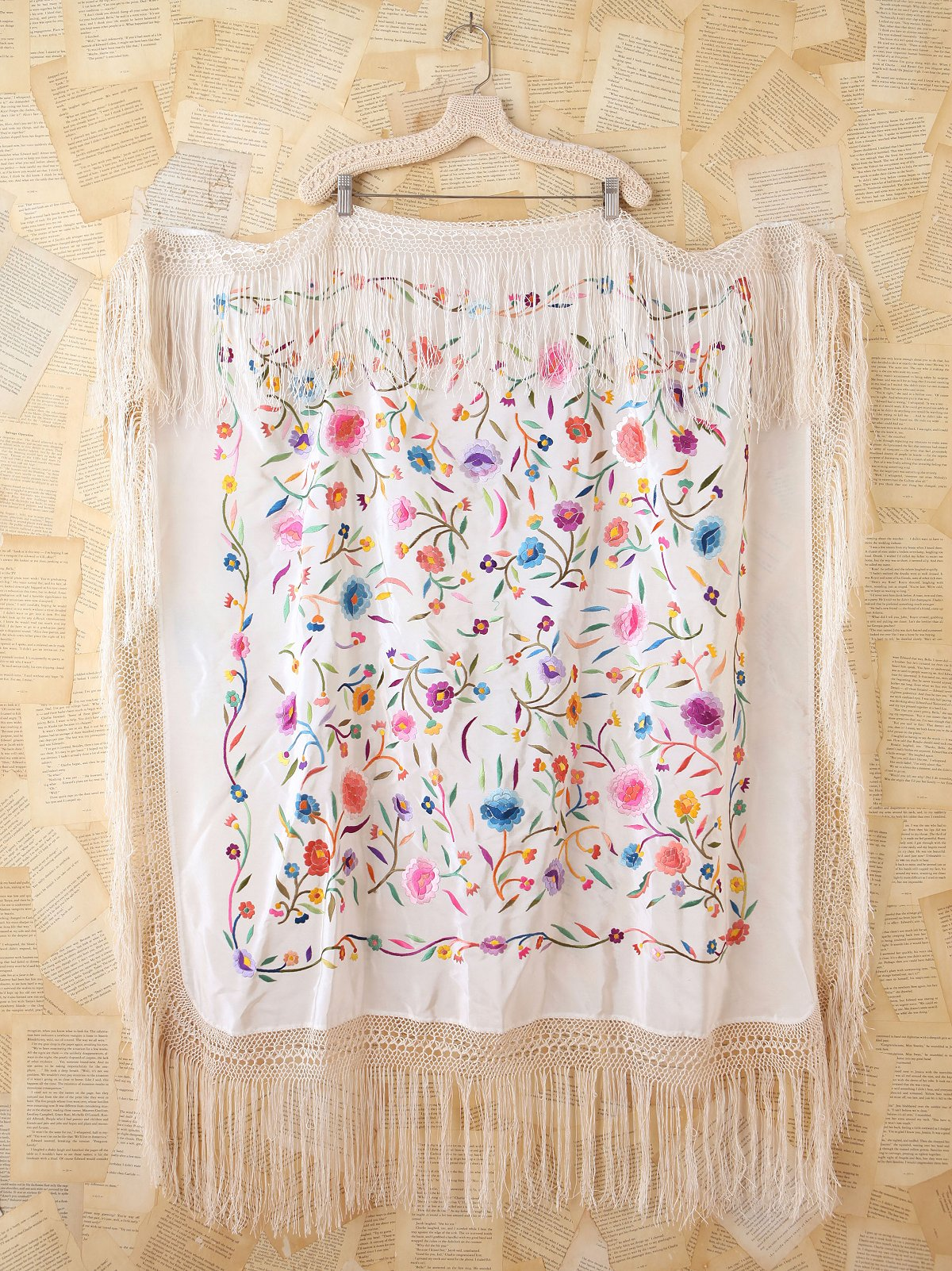 Vintage Silk Flower Embroidered Piano Shawl