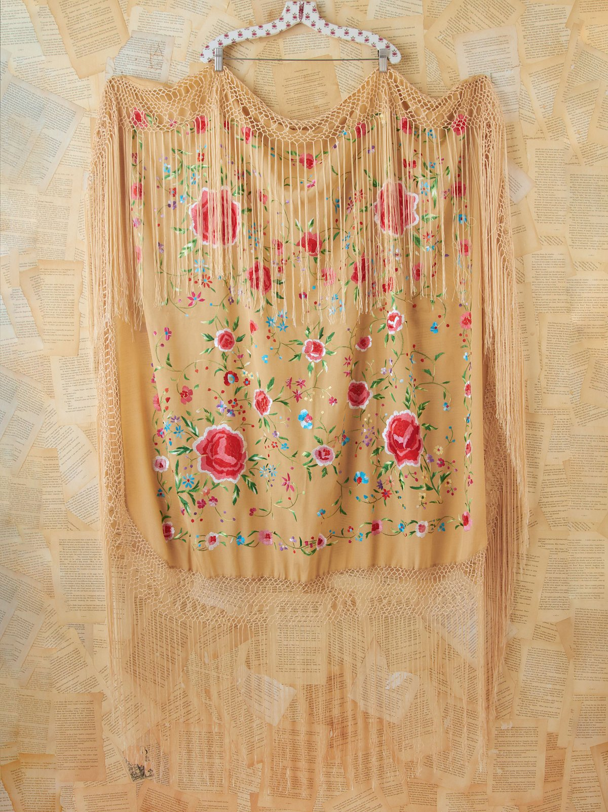 Vintage Silk Floral Embroidered Shawl