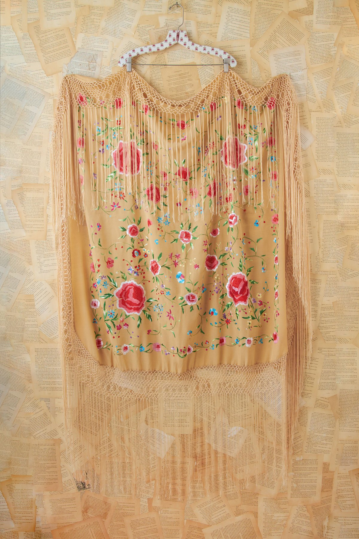 Vintage Silk Floral Embroidered Shawl