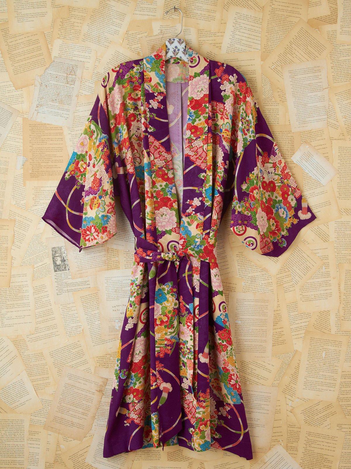 Vintage Purple Printed Maxi Kimono