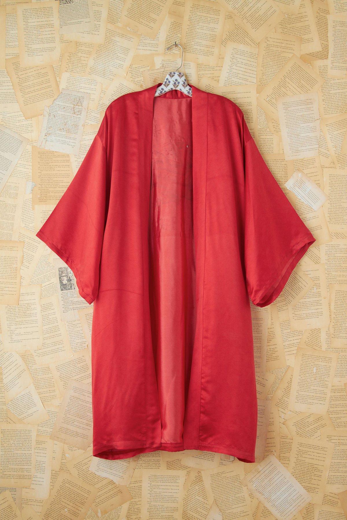 Vintage Red Silk Kimono