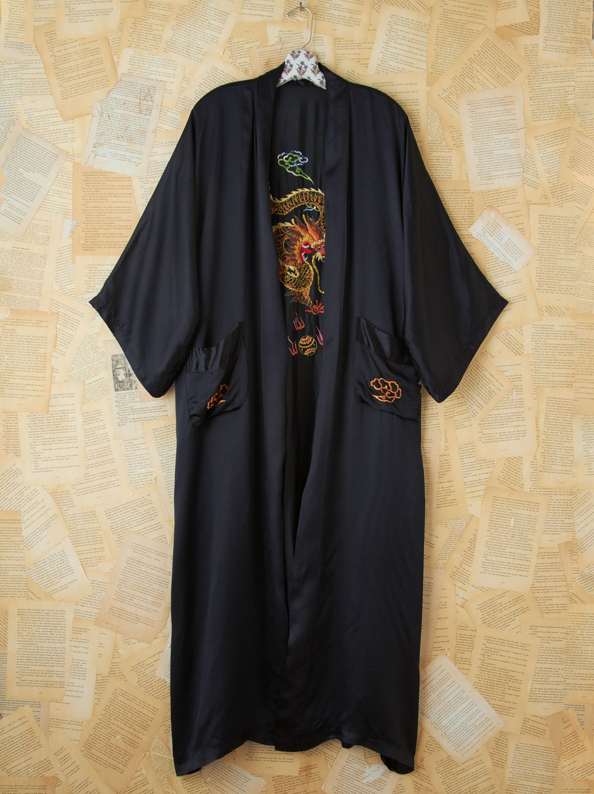 Vintage Black Silk Embroidered Dragon Kimono