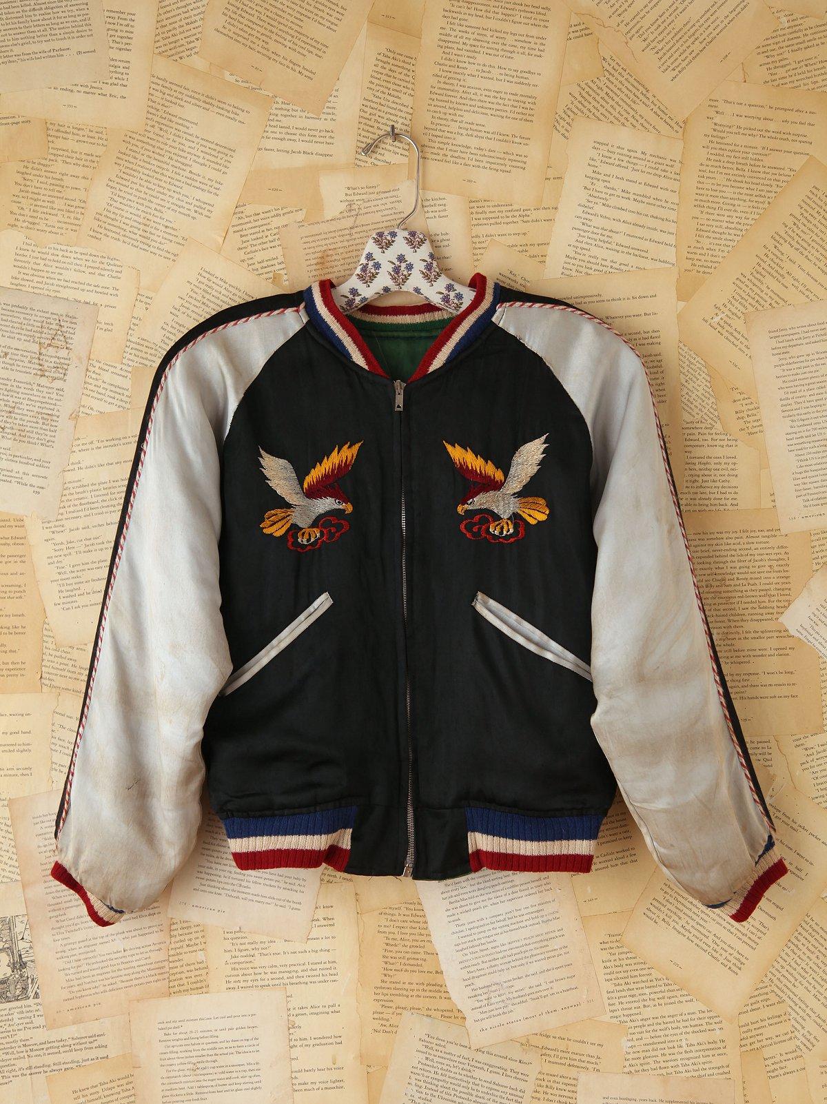 Vintage Reversible Silk Embroidered Bomber Jacket