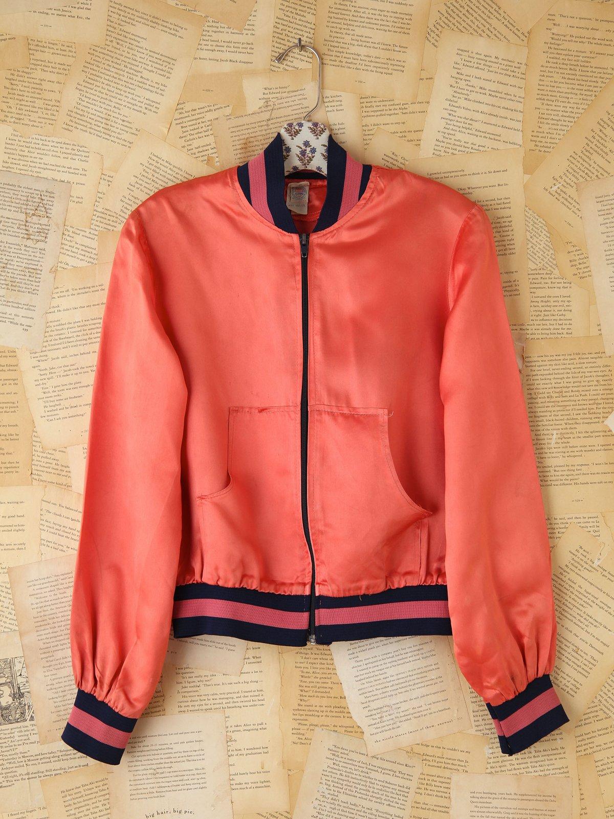 Vintage Pink Silk Bomber Jacket