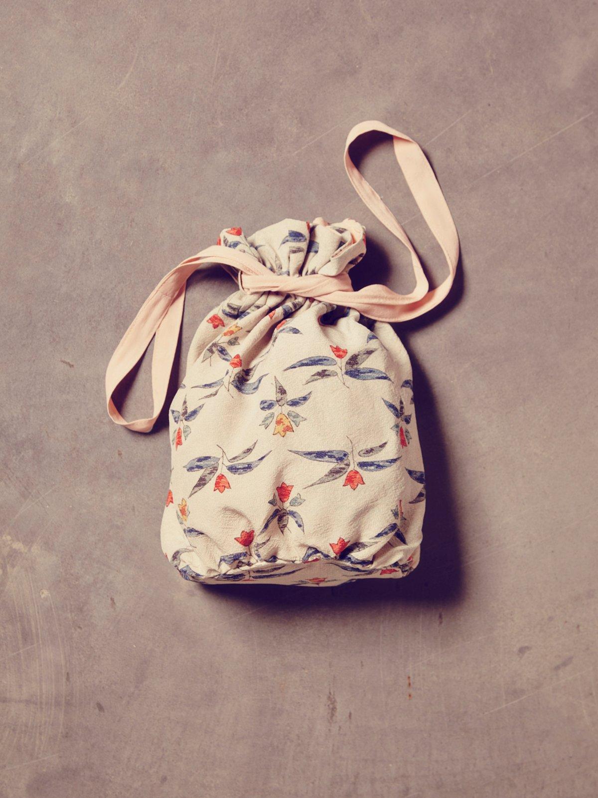 Vintage Blue Floral Kimono Bag