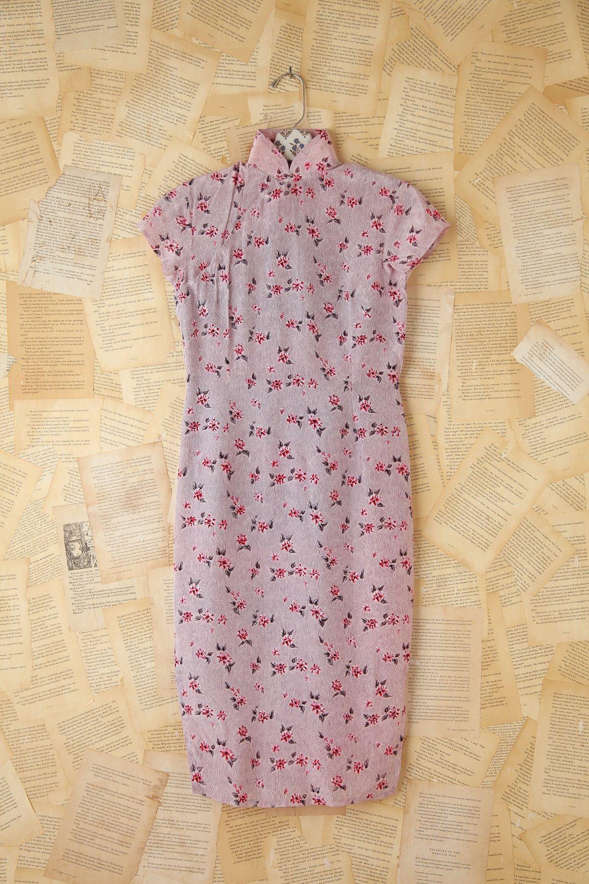 Vintage Floral Printed Silk Dress