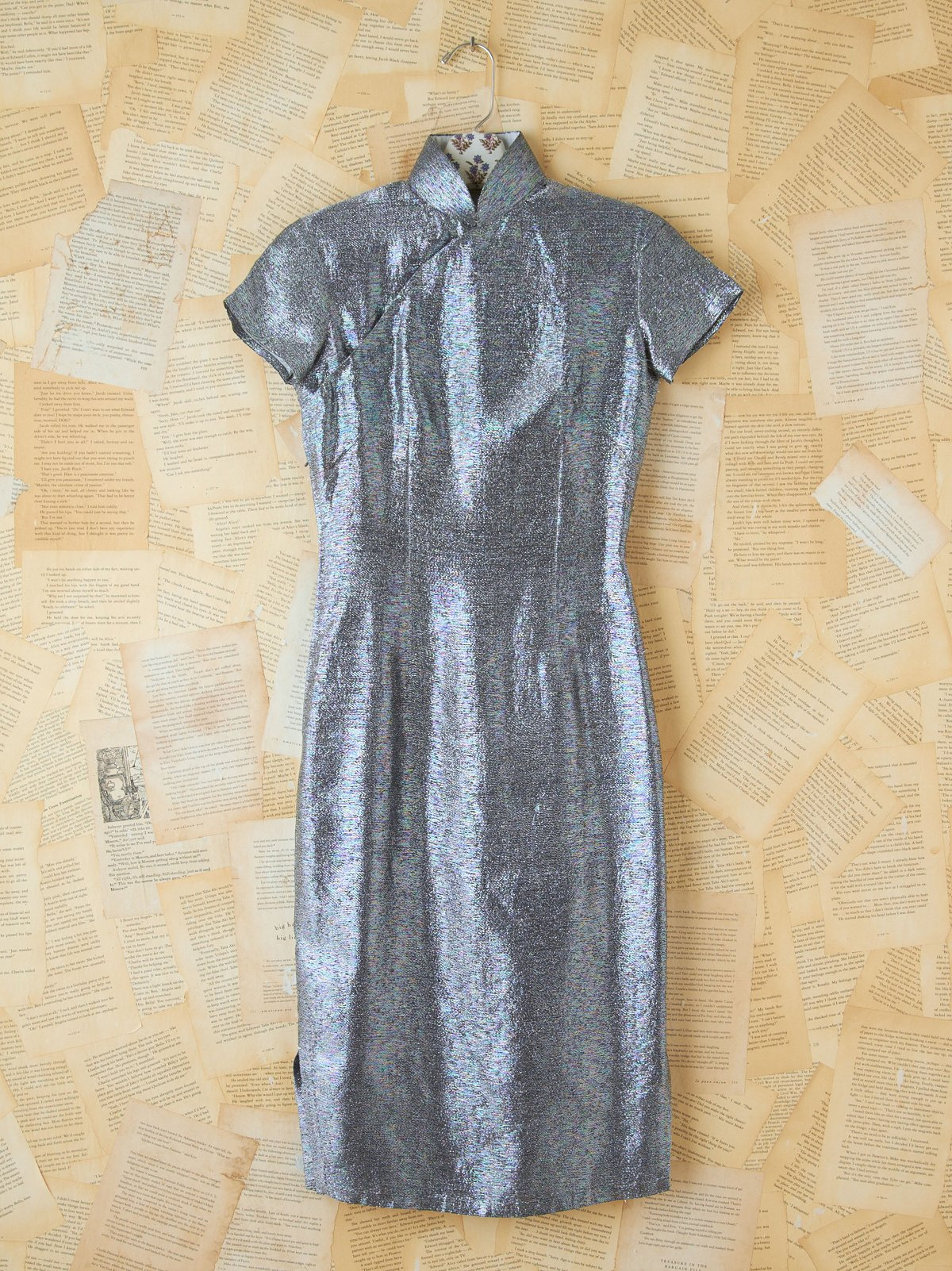 Vintage Metallic Silver Silk Dress