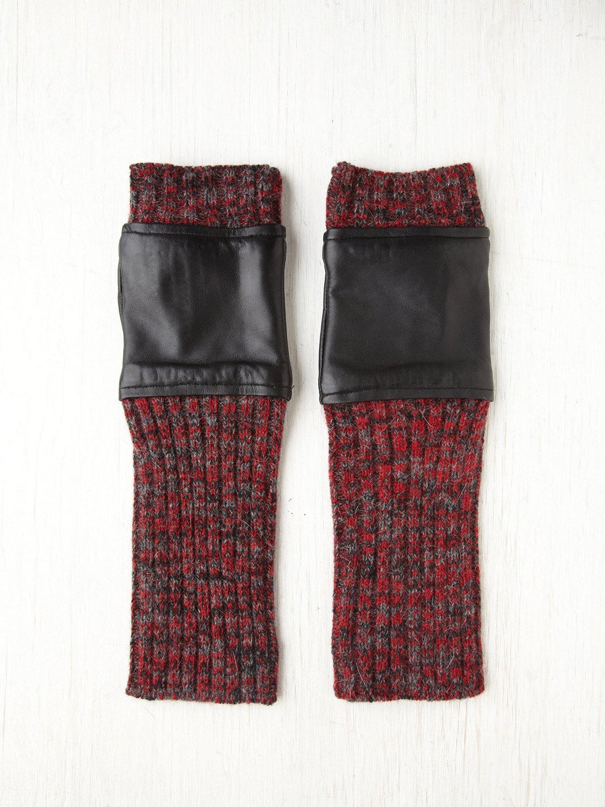 Leather Melange Knit Armwarmer