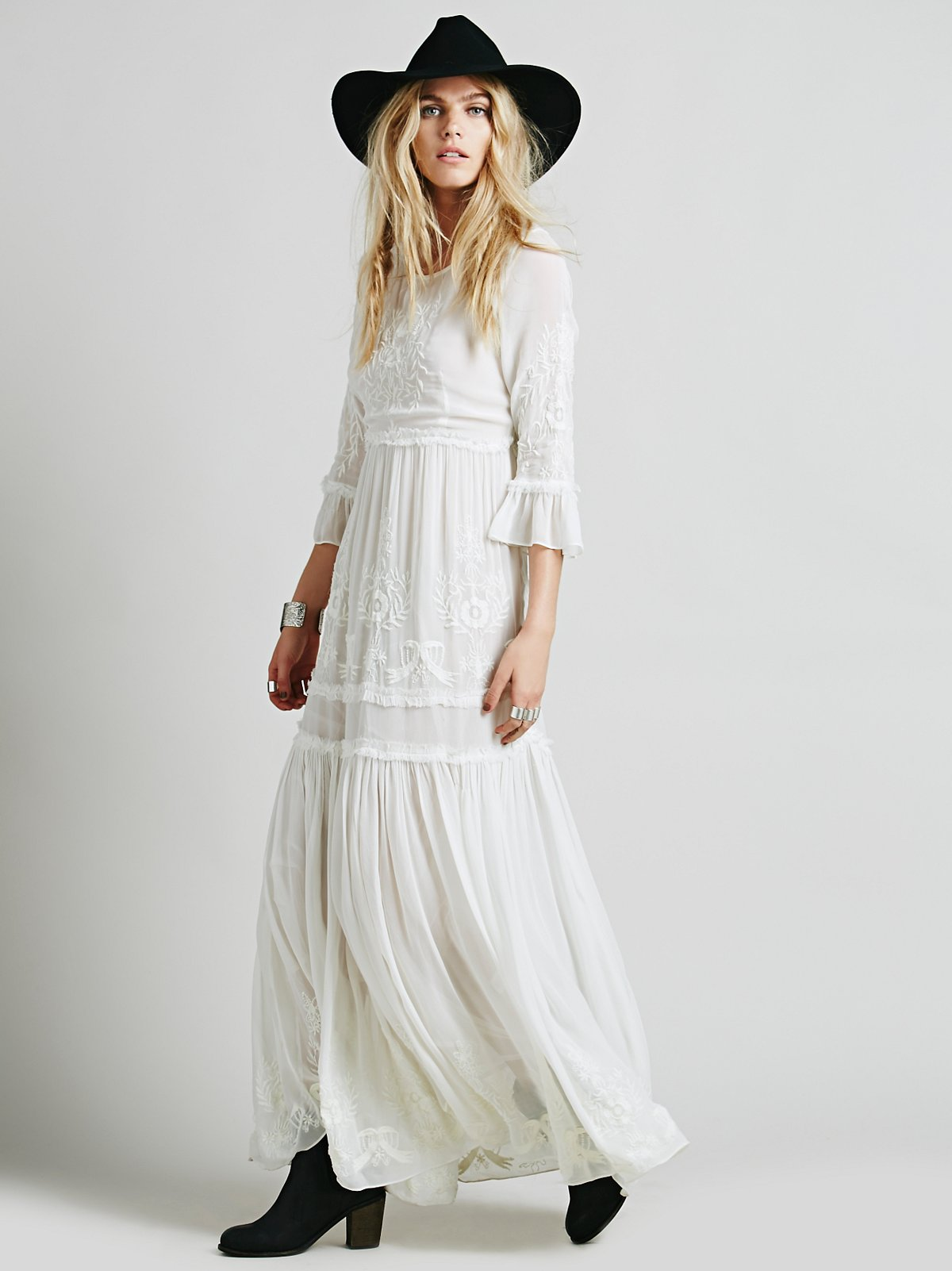 White Romance Embroidered Maxi at Free People Clothing Boutique